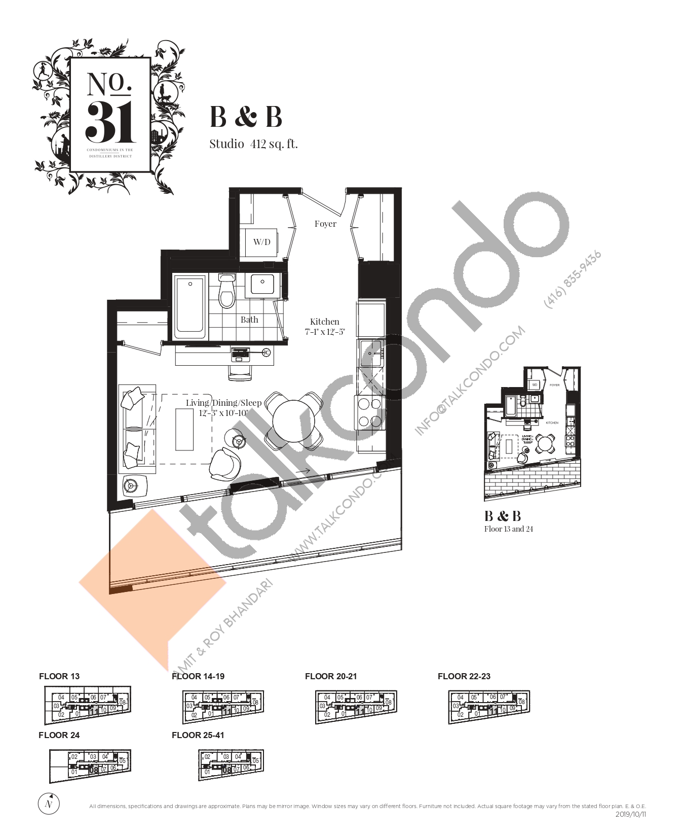 B & B Floor Plan at No. 31 Condos - 412 sq.ft