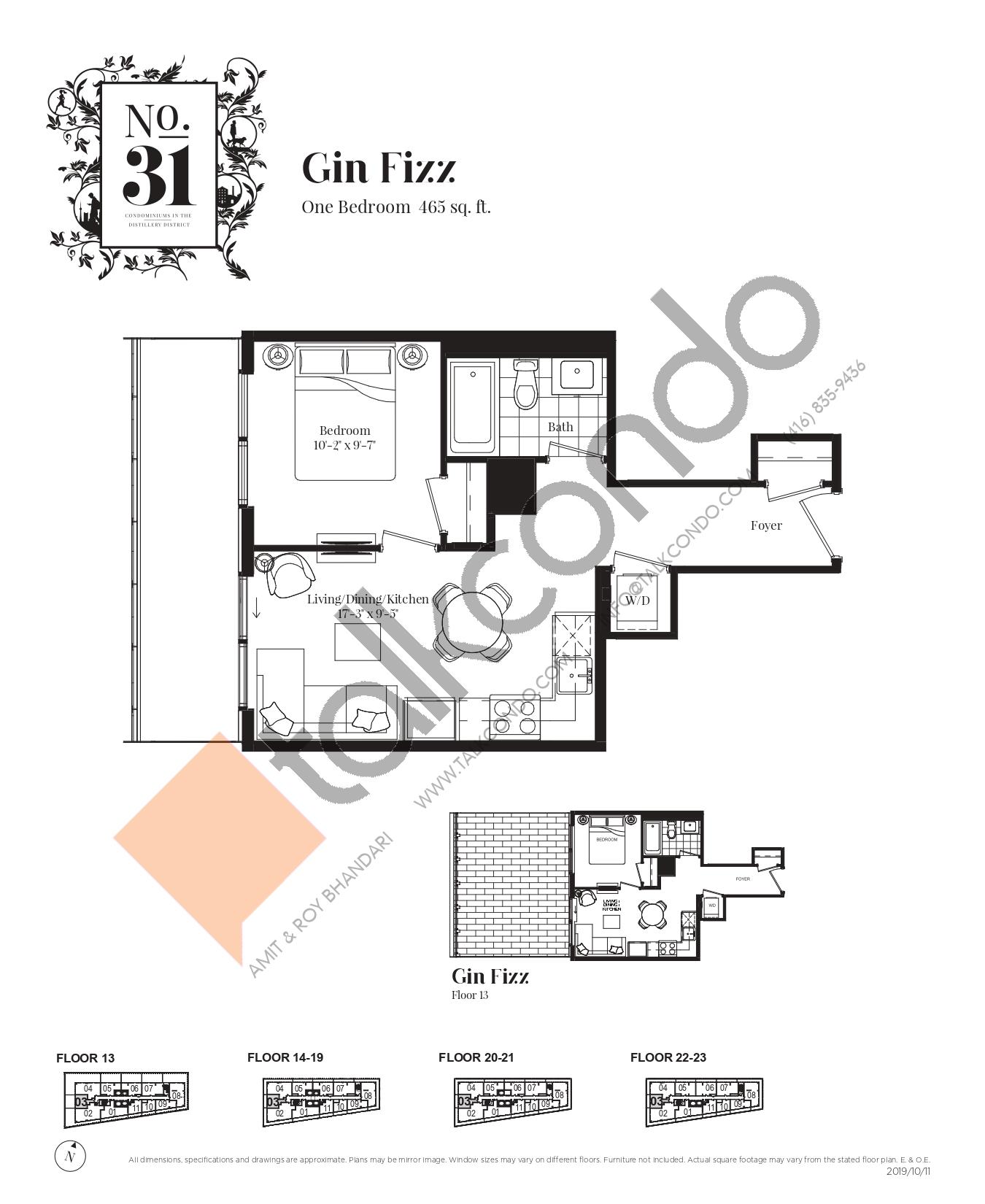 Gin Fizz Floor Plan at No. 31 Condos - 465 sq.ft