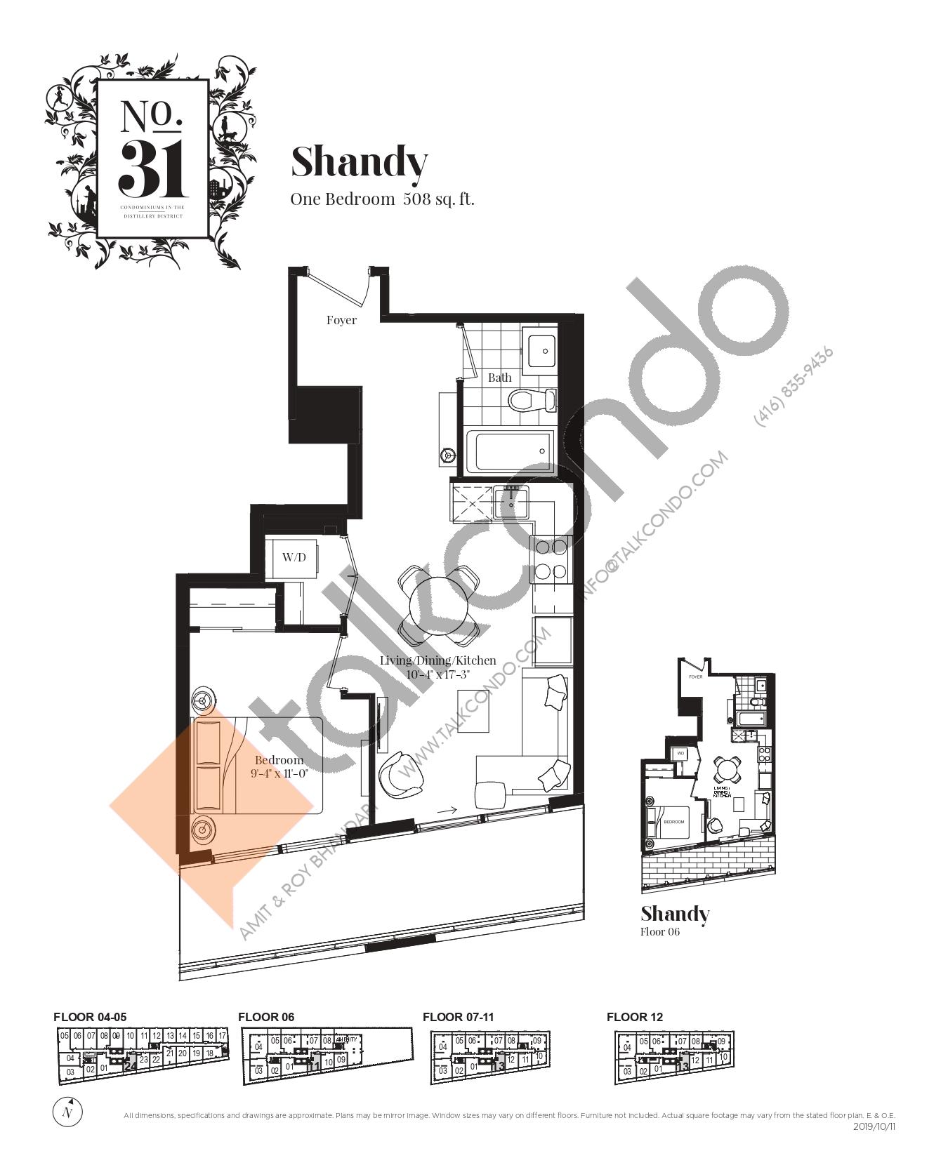 Shandy Floor Plan at No. 31 Condos - 508 sq.ft
