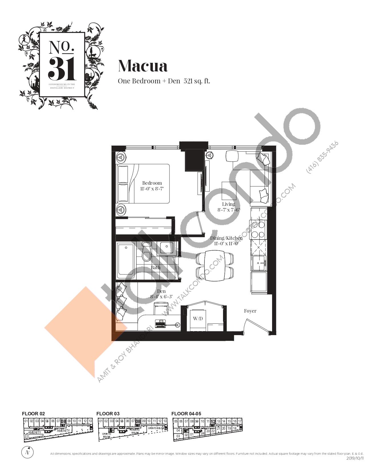 Macua Floor Plan at No. 31 Condos - 521 sq.ft