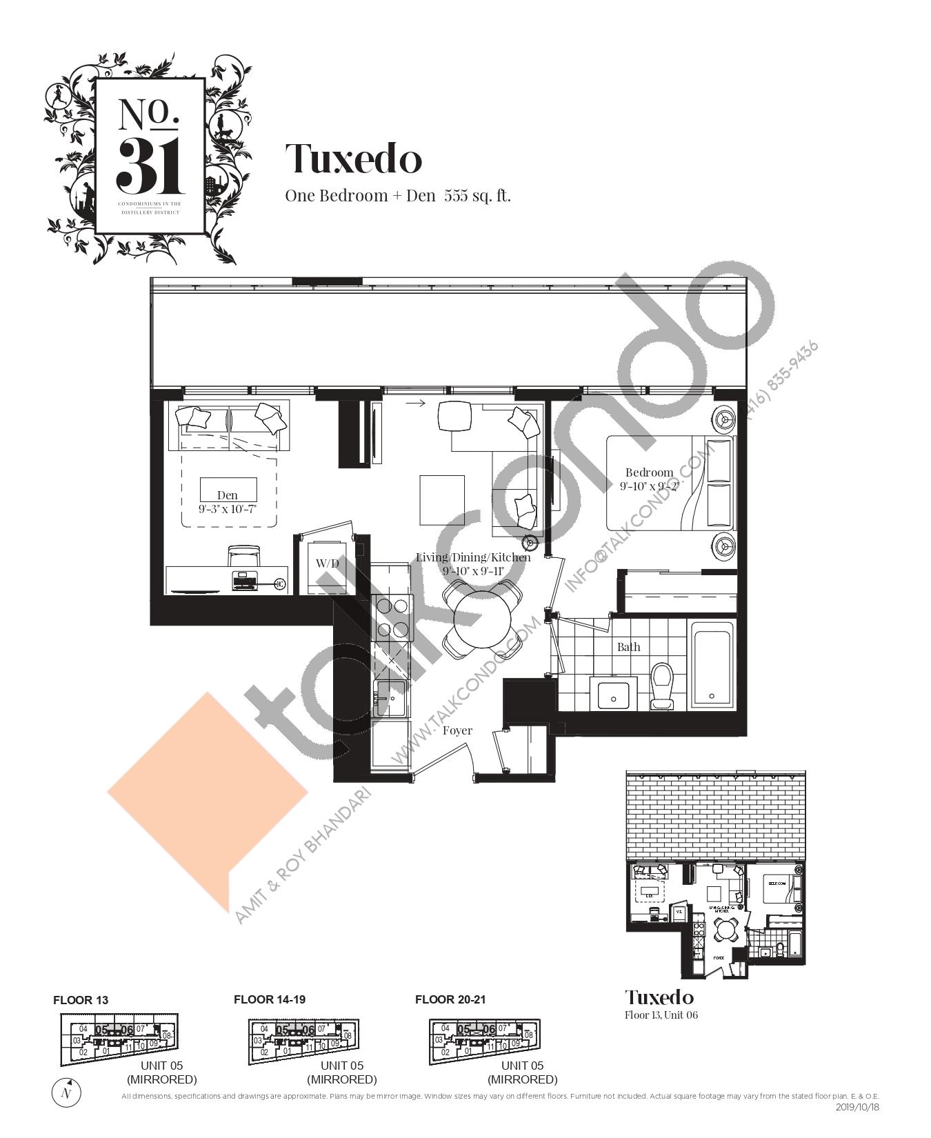 Tuxedo Floor Plan at No. 31 Condos - 555 sq.ft