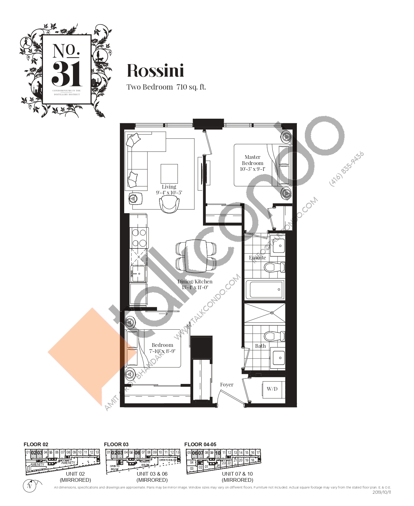 Rossini Floor Plan at No. 31 Condos - 710 sq.ft