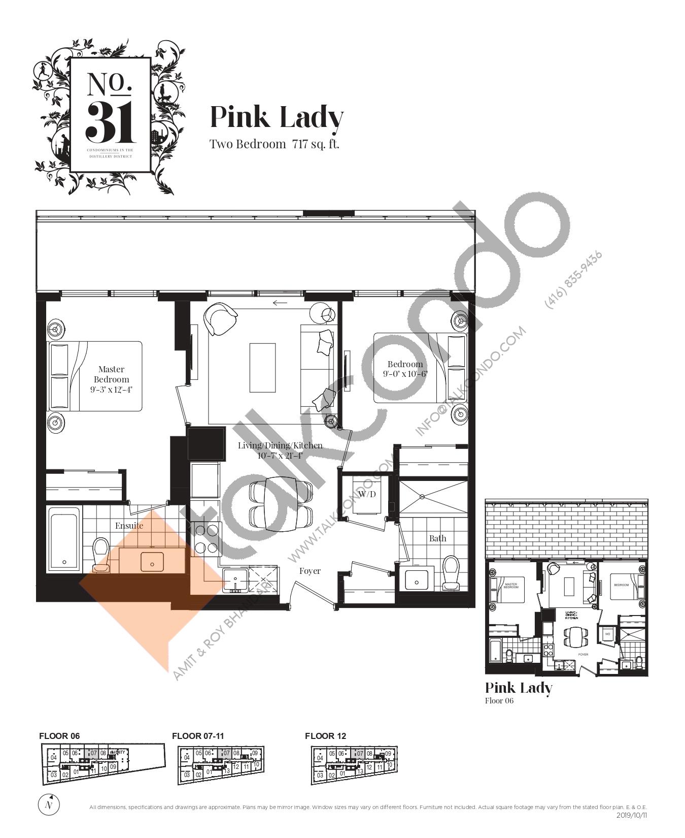 Pink Lady Floor Plan at No. 31 Condos - 717 sq.ft