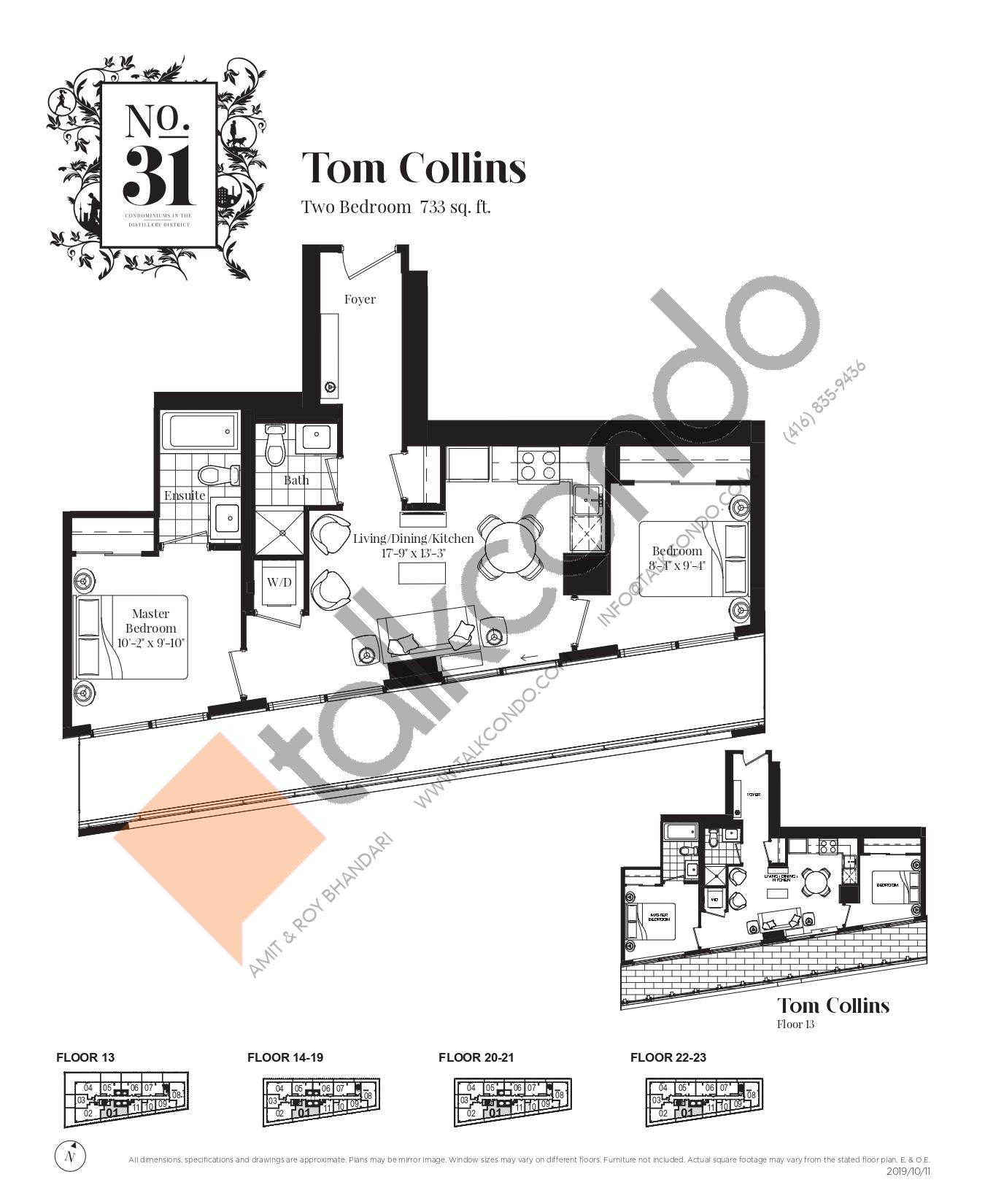 Tom Collins Floor Plan at No. 31 Condos - 733 sq.ft