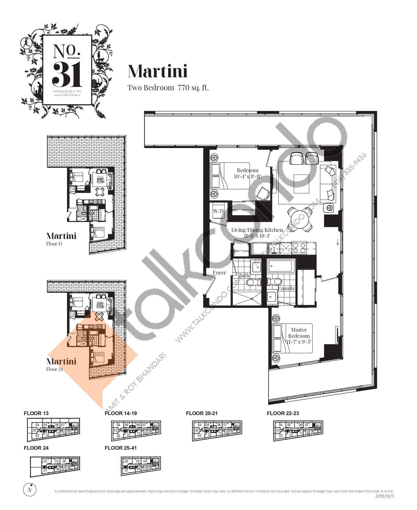 Martini Floor Plan at No. 31 Condos - 770 sq.ft