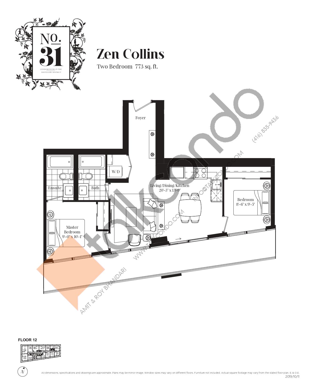 Zen Collins Floor Plan at No. 31 Condos - 773 sq.ft