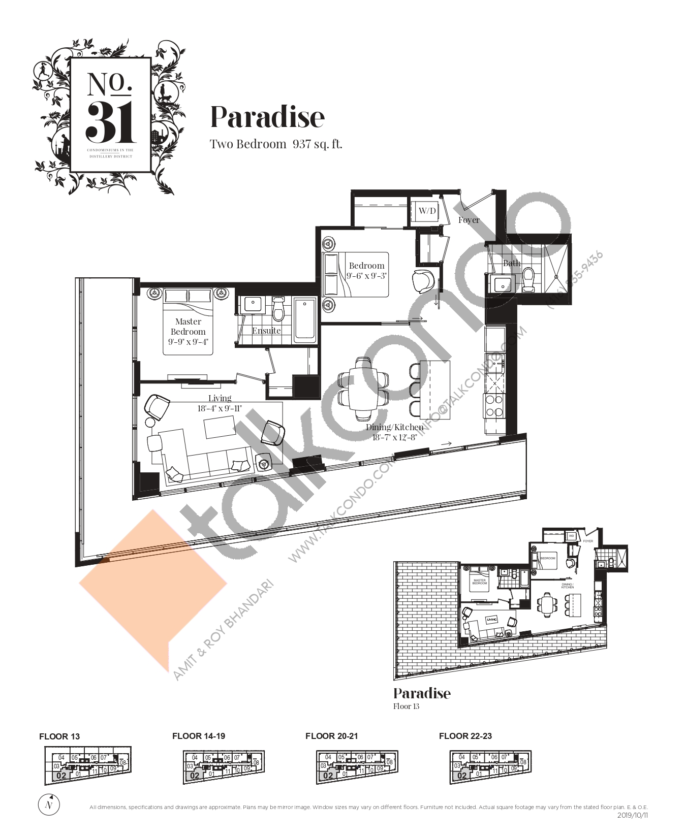Paradise Floor Plan at No. 31 Condos - 937 sq.ft