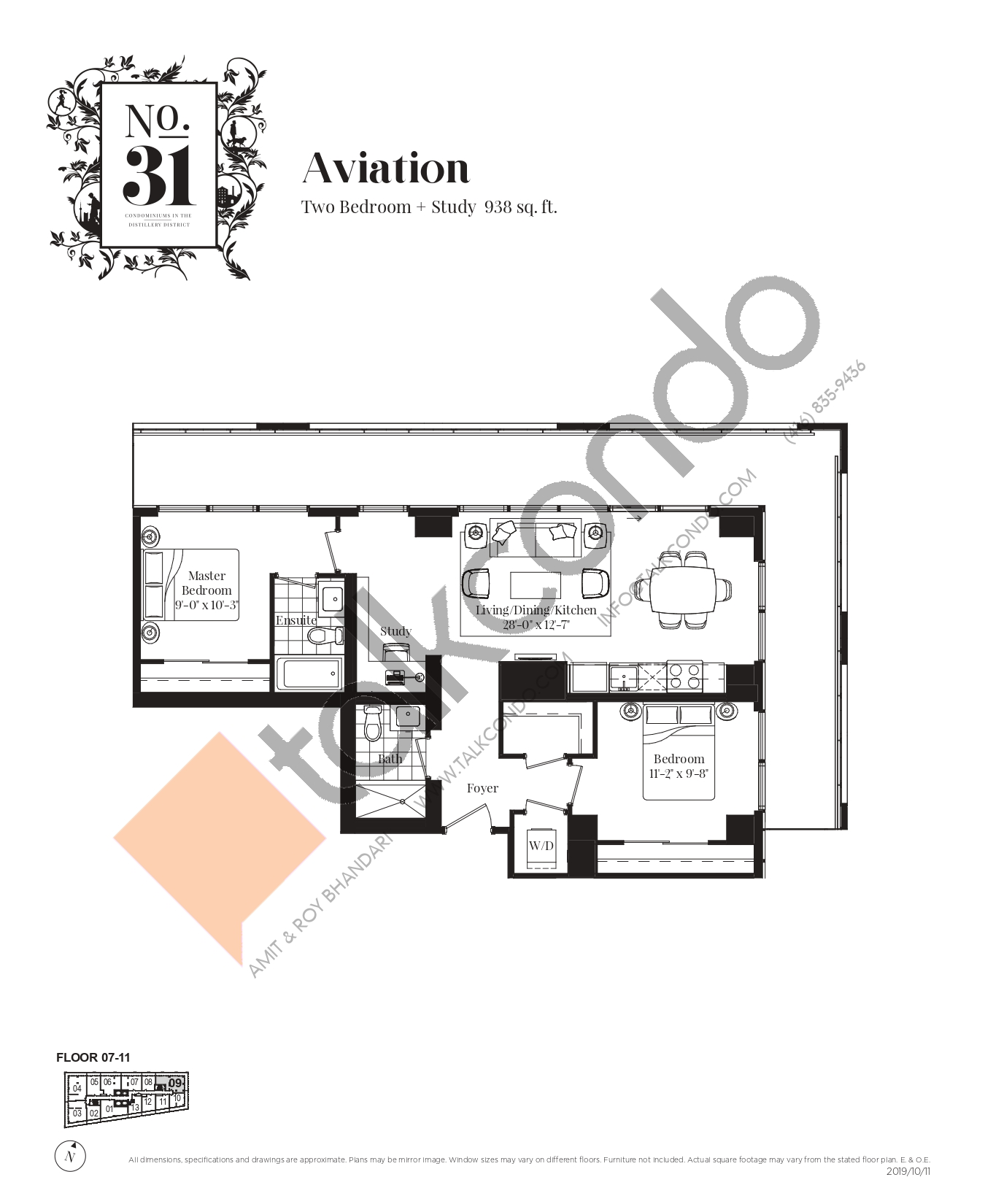 Aviation Floor Plan at No. 31 Condos - 938 sq.ft