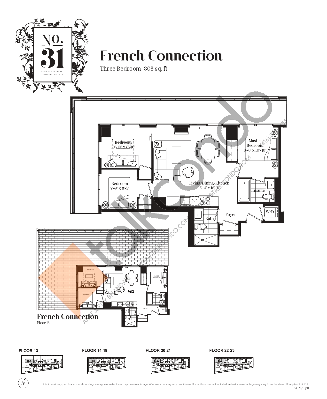 French Connection Floor Plan at No. 31 Condos - 808 sq.ft