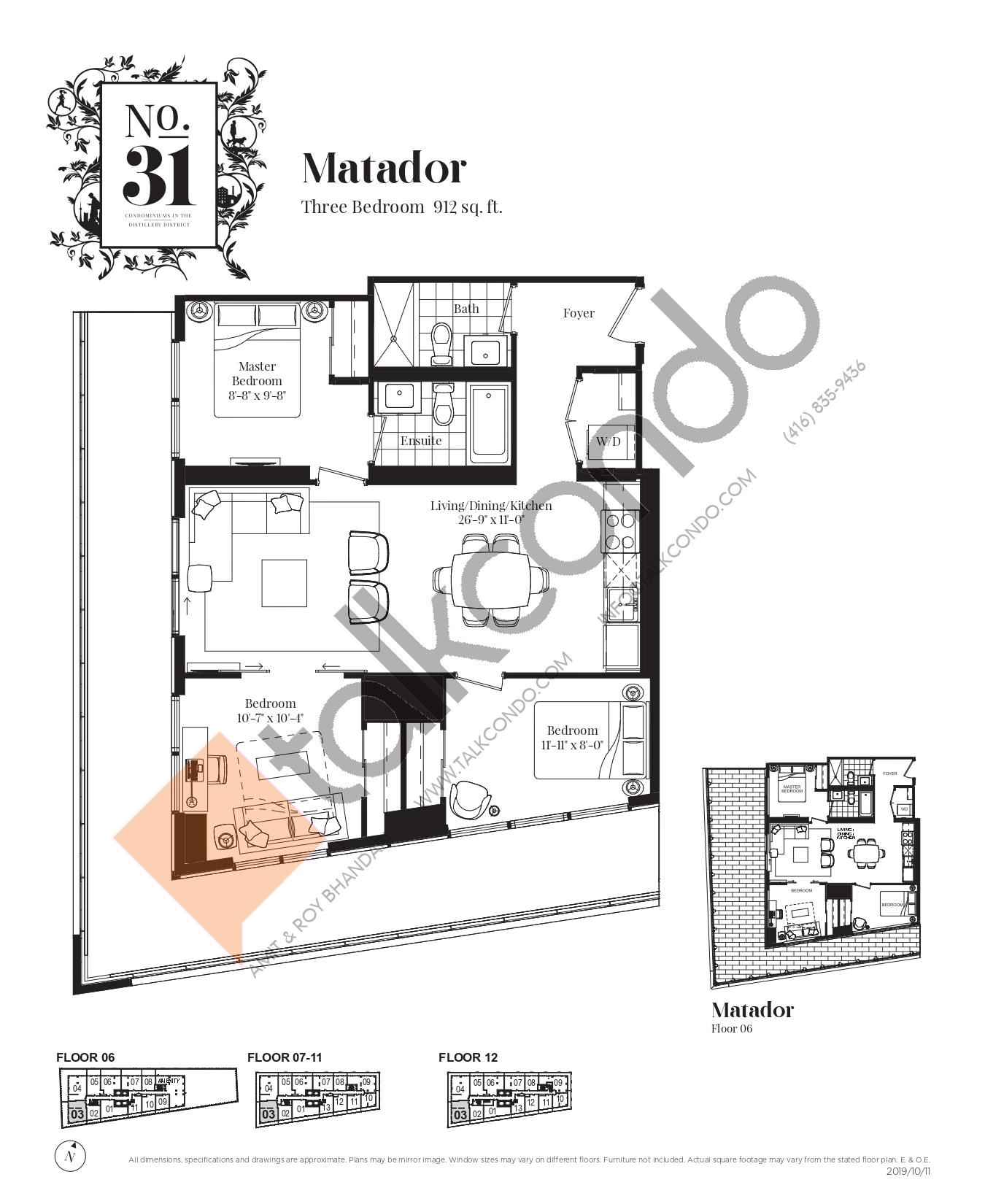 Matador Floor Plan at No. 31 Condos - 912 sq.ft