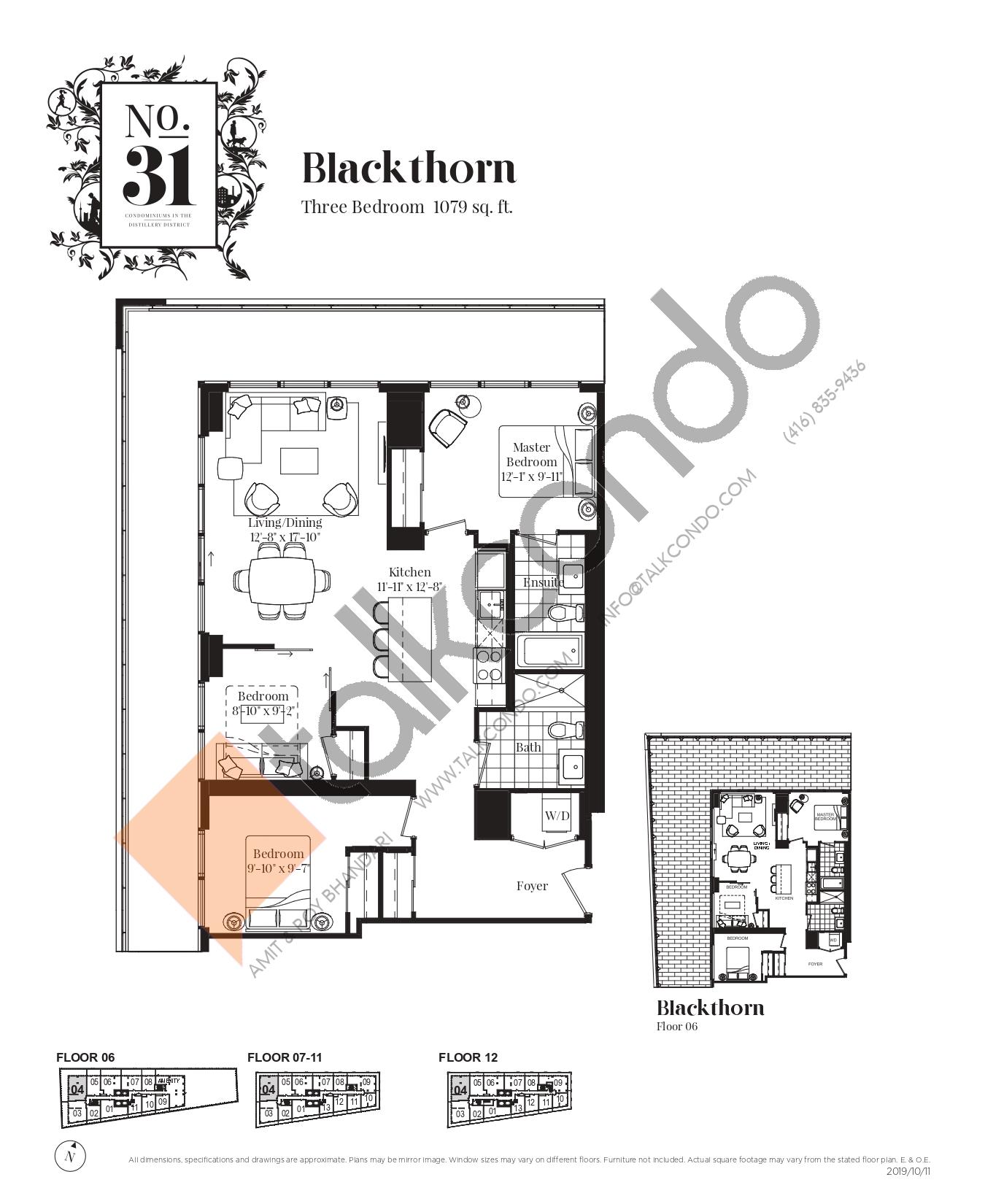 Blackthorn Floor Plan at No. 31 Condos - 1079 sq.ft