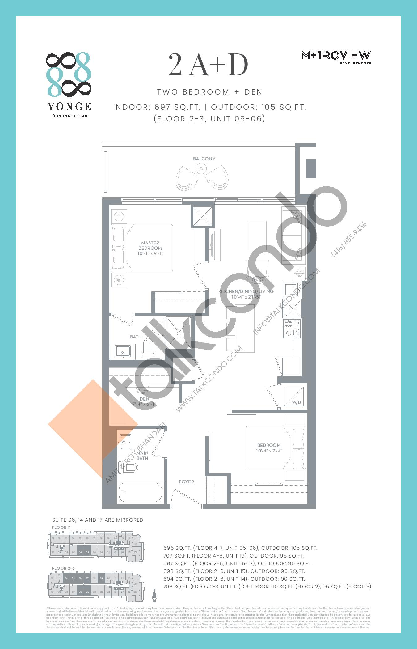2A+D Floor Plan at 8888 Yonge Street Condos - 697 sq.ft
