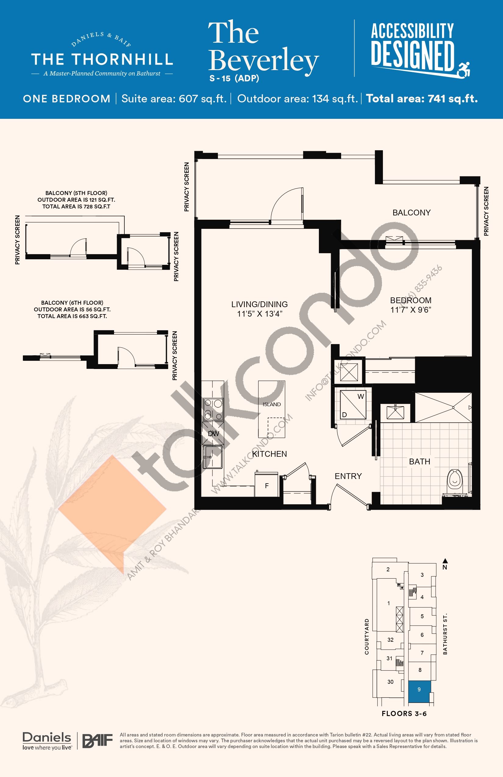 The Beverley Floor Plan at The Thornhill Condos - 607 sq.ft