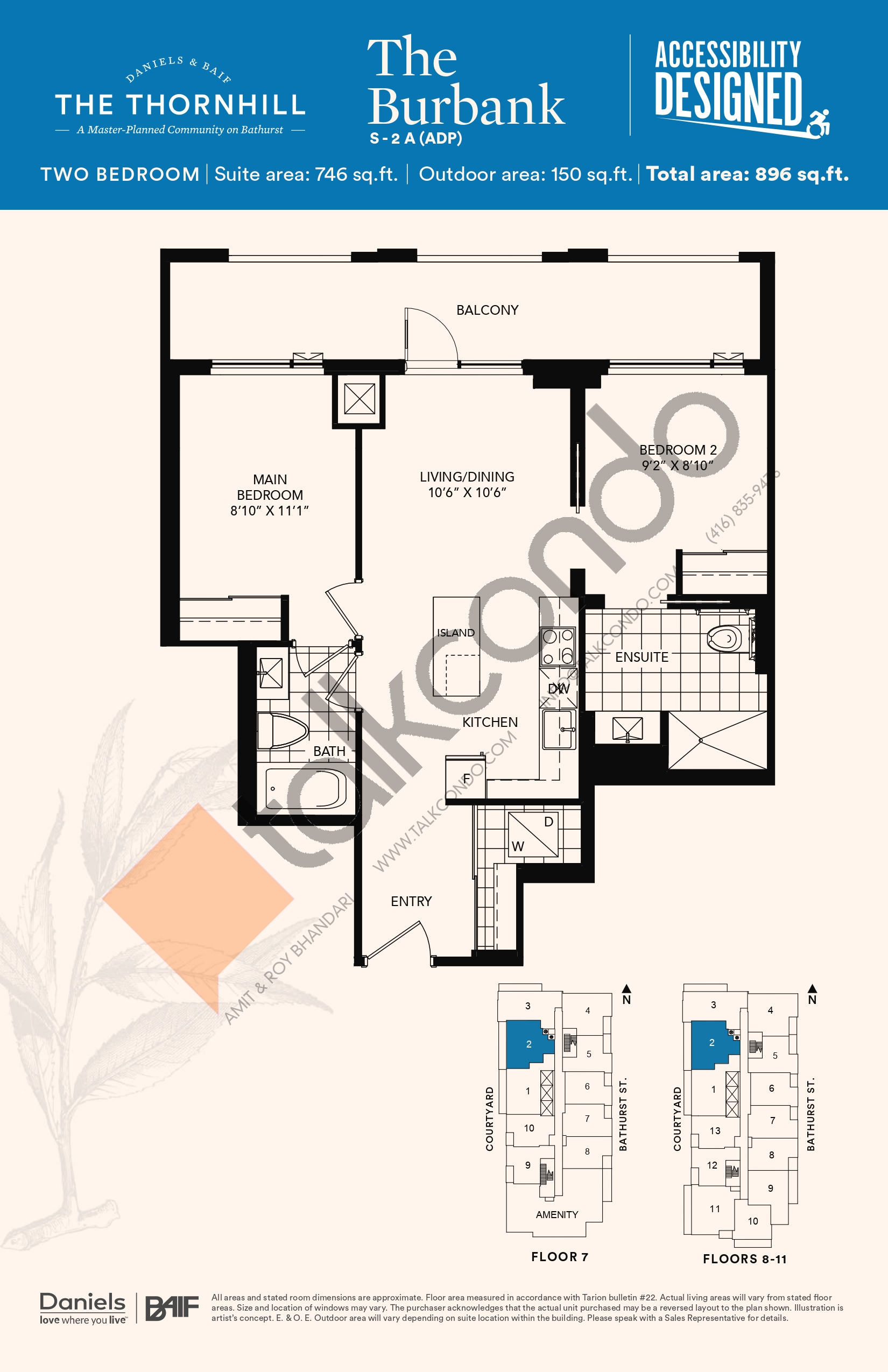 The Burbank Floor Plan at The Thornhill Condos - 746 sq.ft