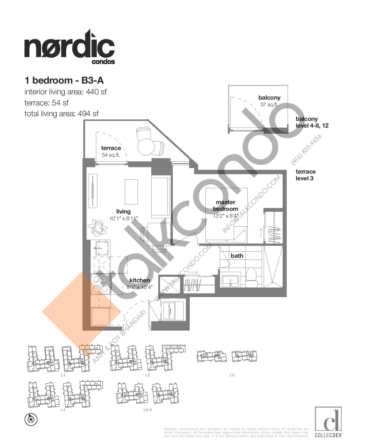 B3-A Floor Plan at Nordic Condos - 440 sq.ft