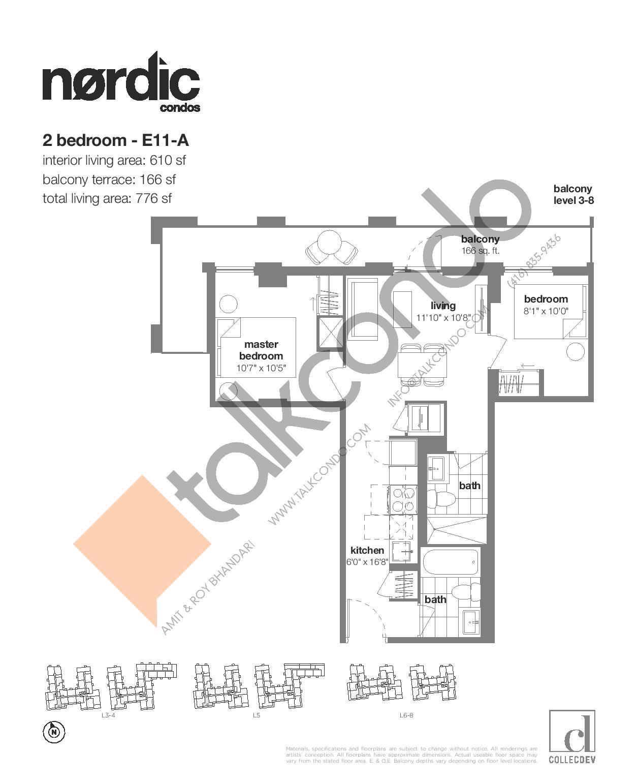 E11-A Floor Plan at Nordic Condos - 610 sq.ft