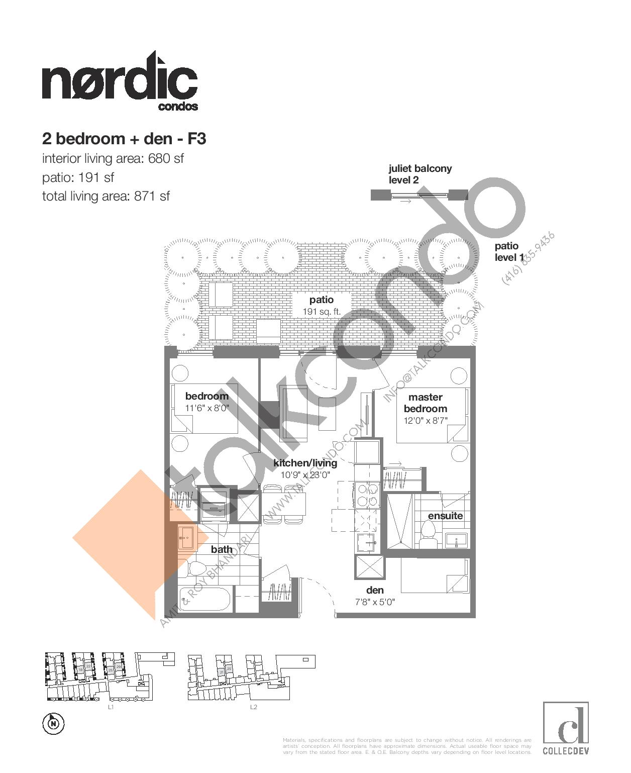 F3 Floor Plan at Nordic Condos - 680 sq.ft