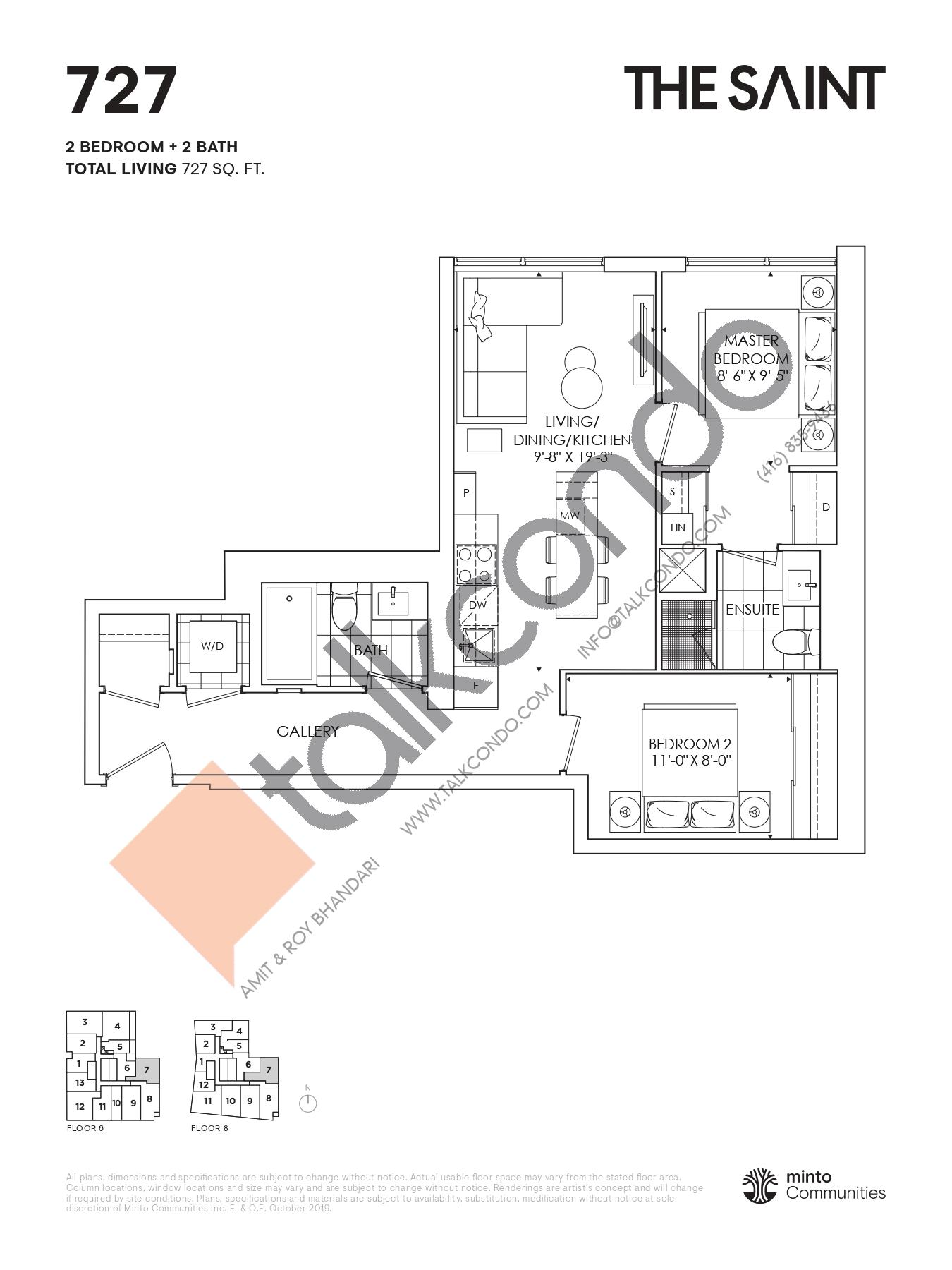 727 Floor Plan at The Saint Condos - 727 sq.ft