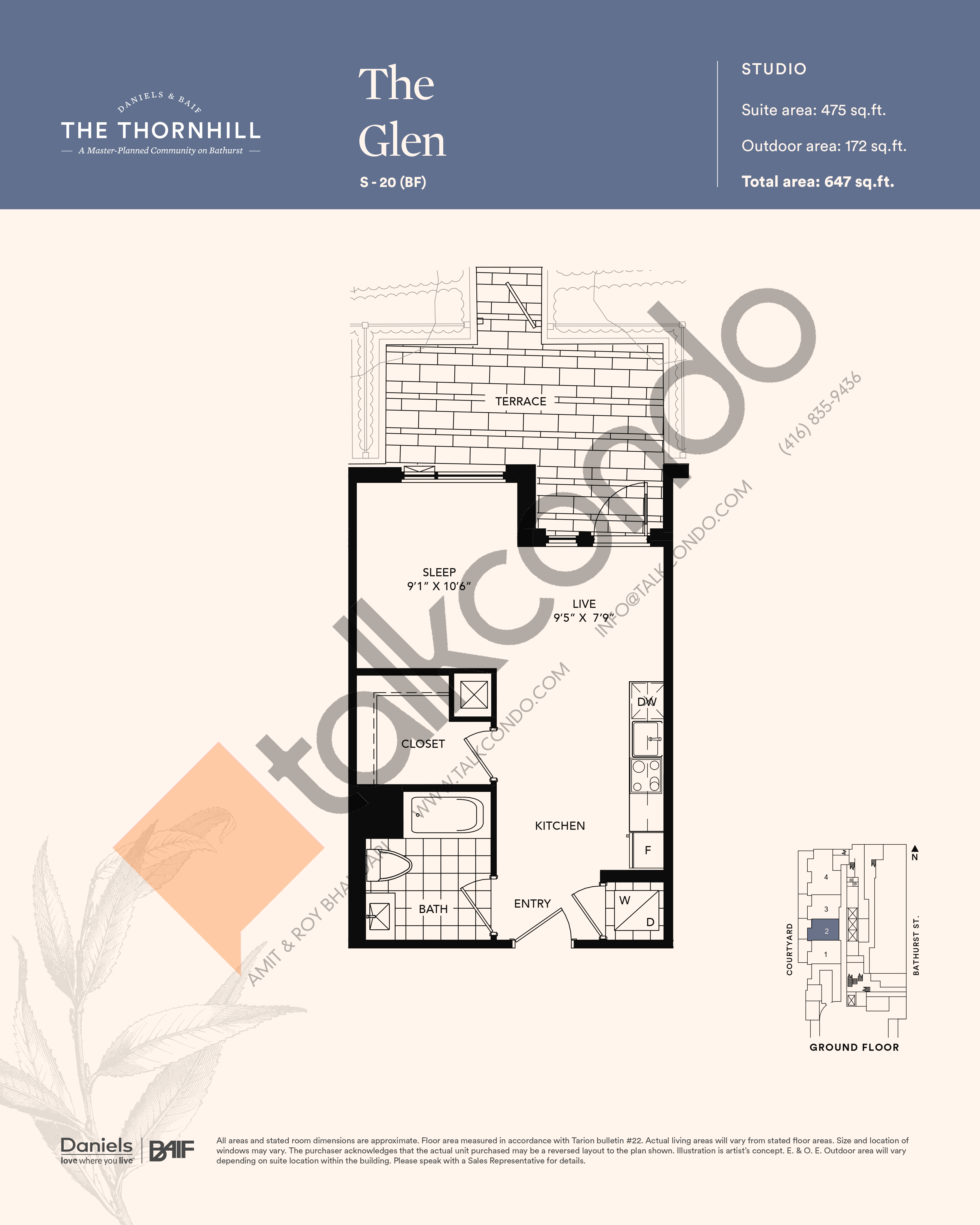 The Glen Floor Plan at The Thornhill Condos - 475 sq.ft