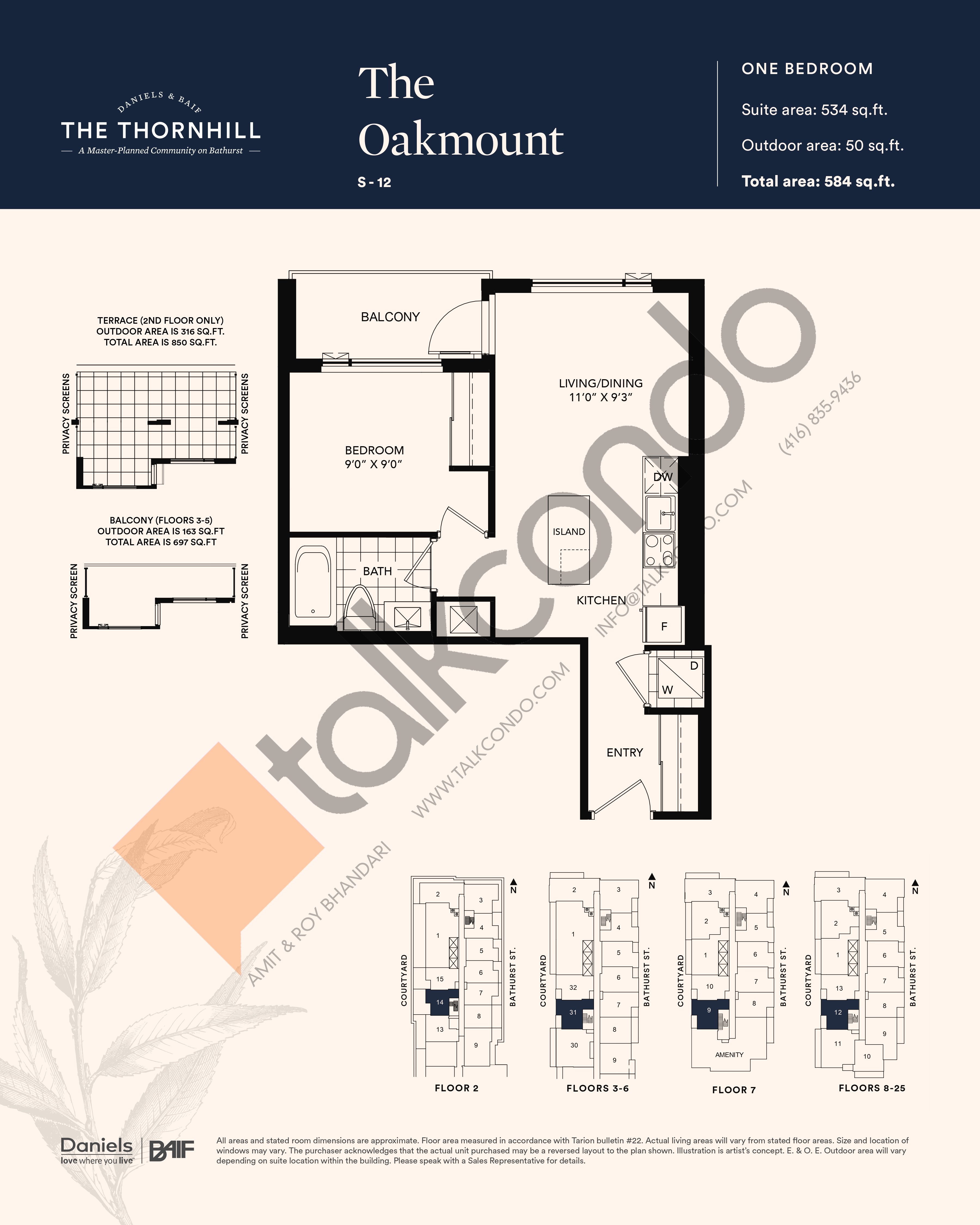 The Oakmount Floor Plan at The Thornhill Condos - 534 sq.ft
