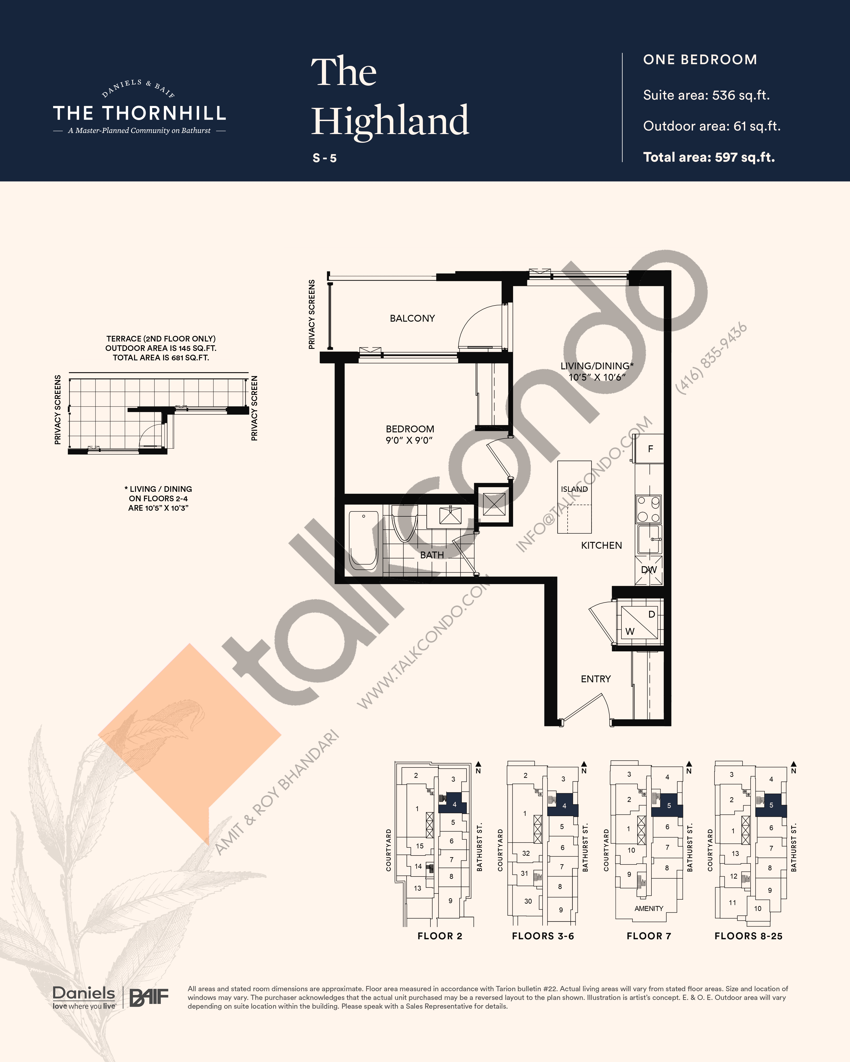 The Highland Floor Plan at The Thornhill Condos - 536 sq.ft