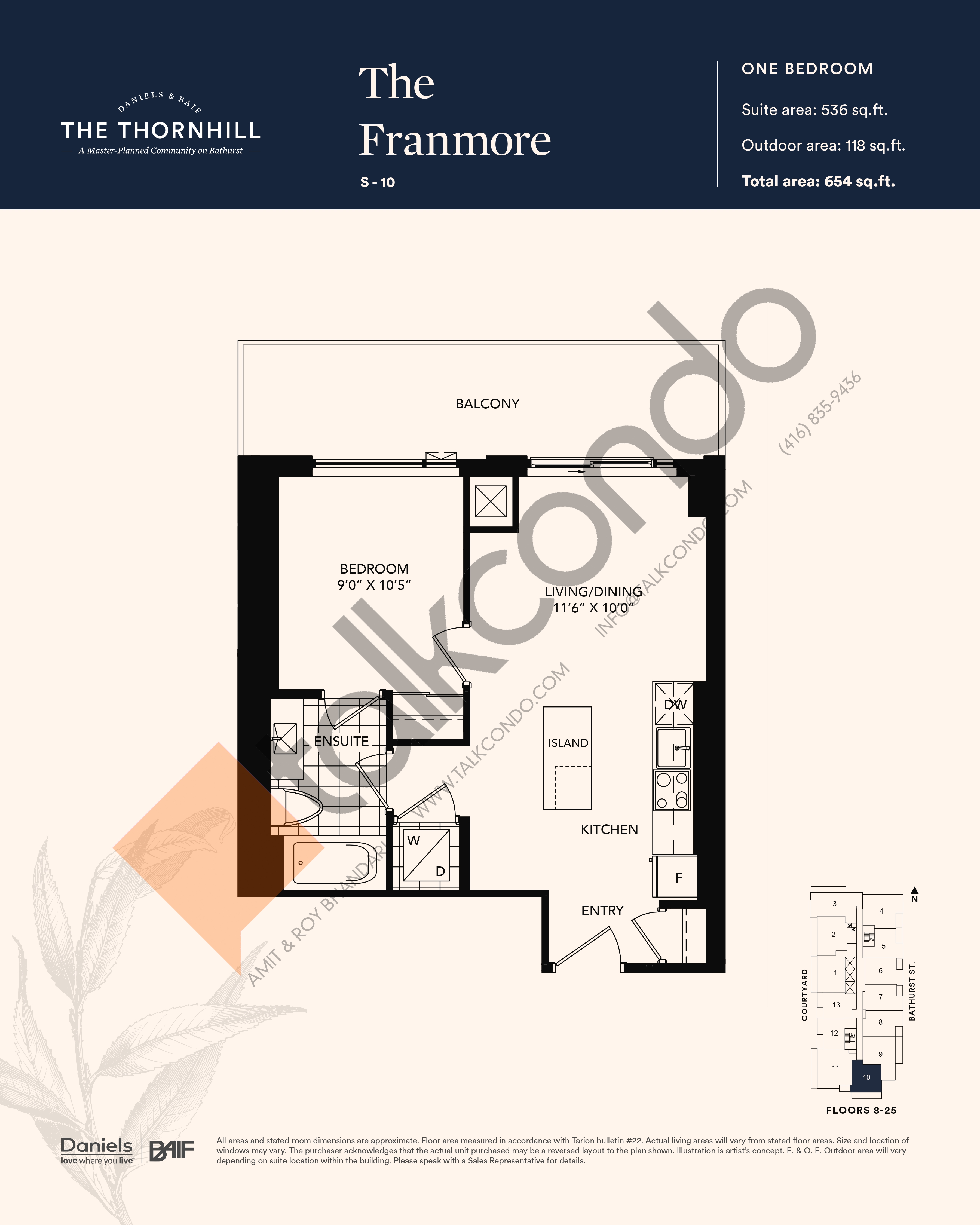 The Franmore Floor Plan at The Thornhill Condos - 536 sq.ft