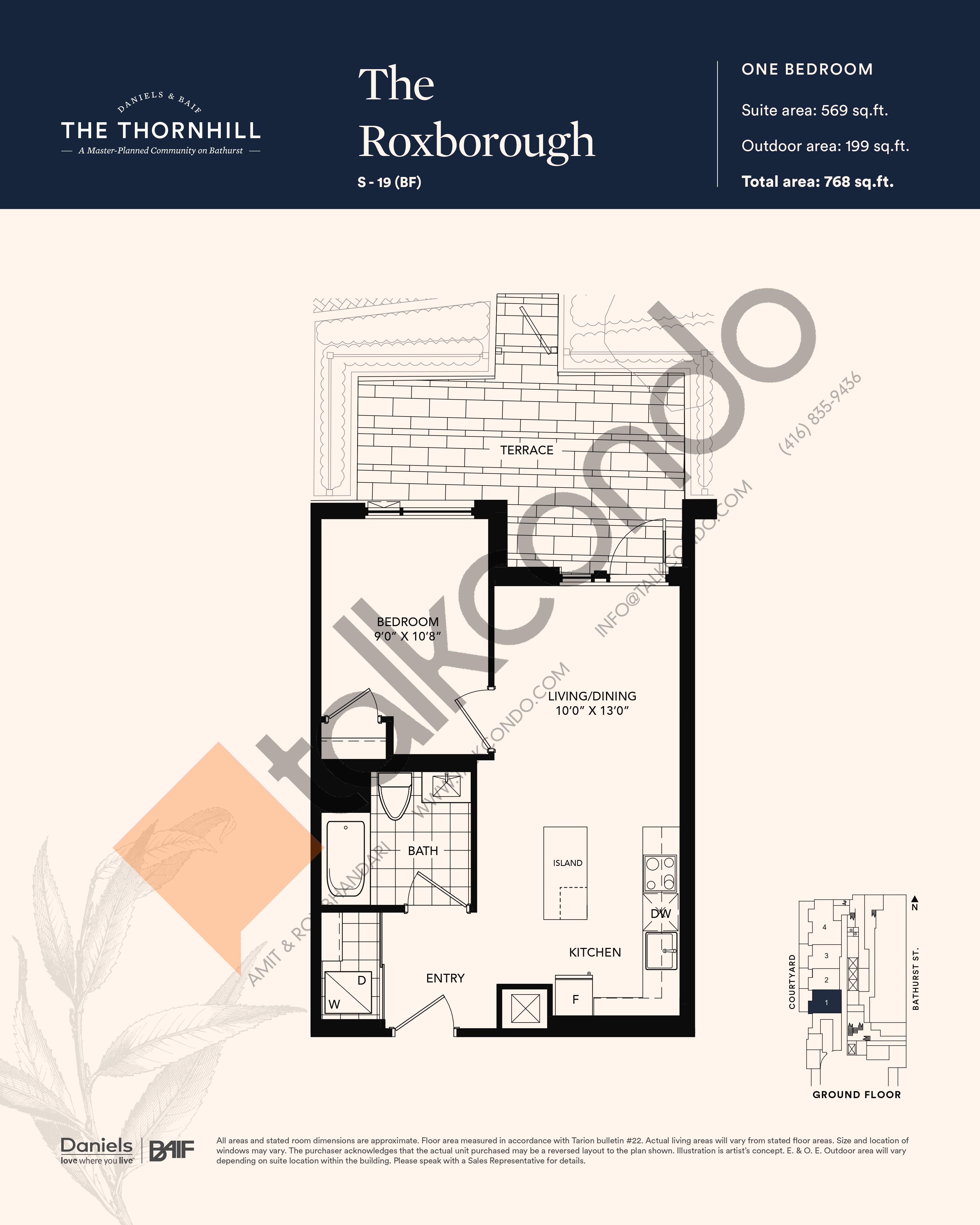 The Roxborough Floor Plan at The Thornhill Condos - 569 sq.ft
