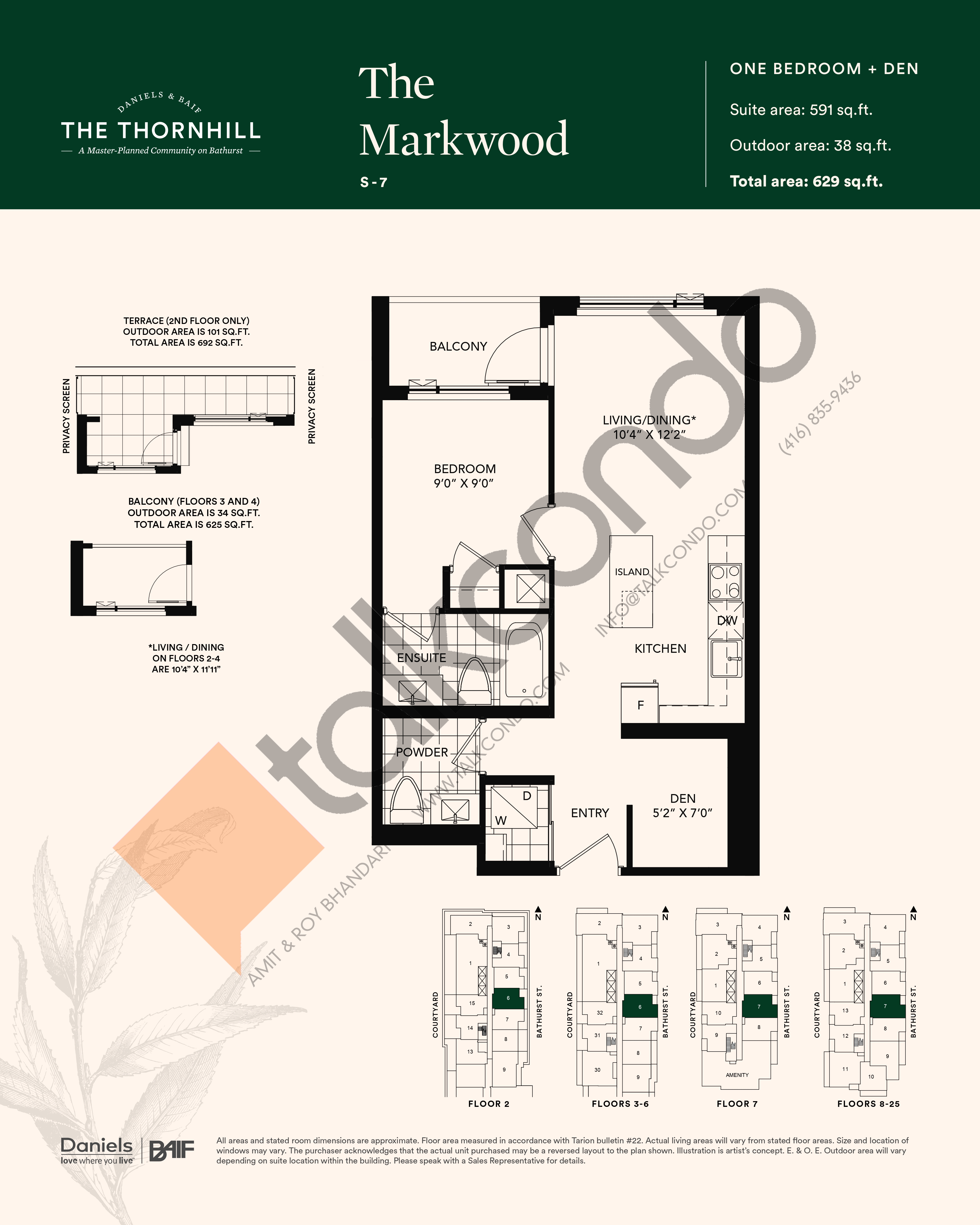 The Markwood Floor Plan at The Thornhill Condos - 591 sq.ft