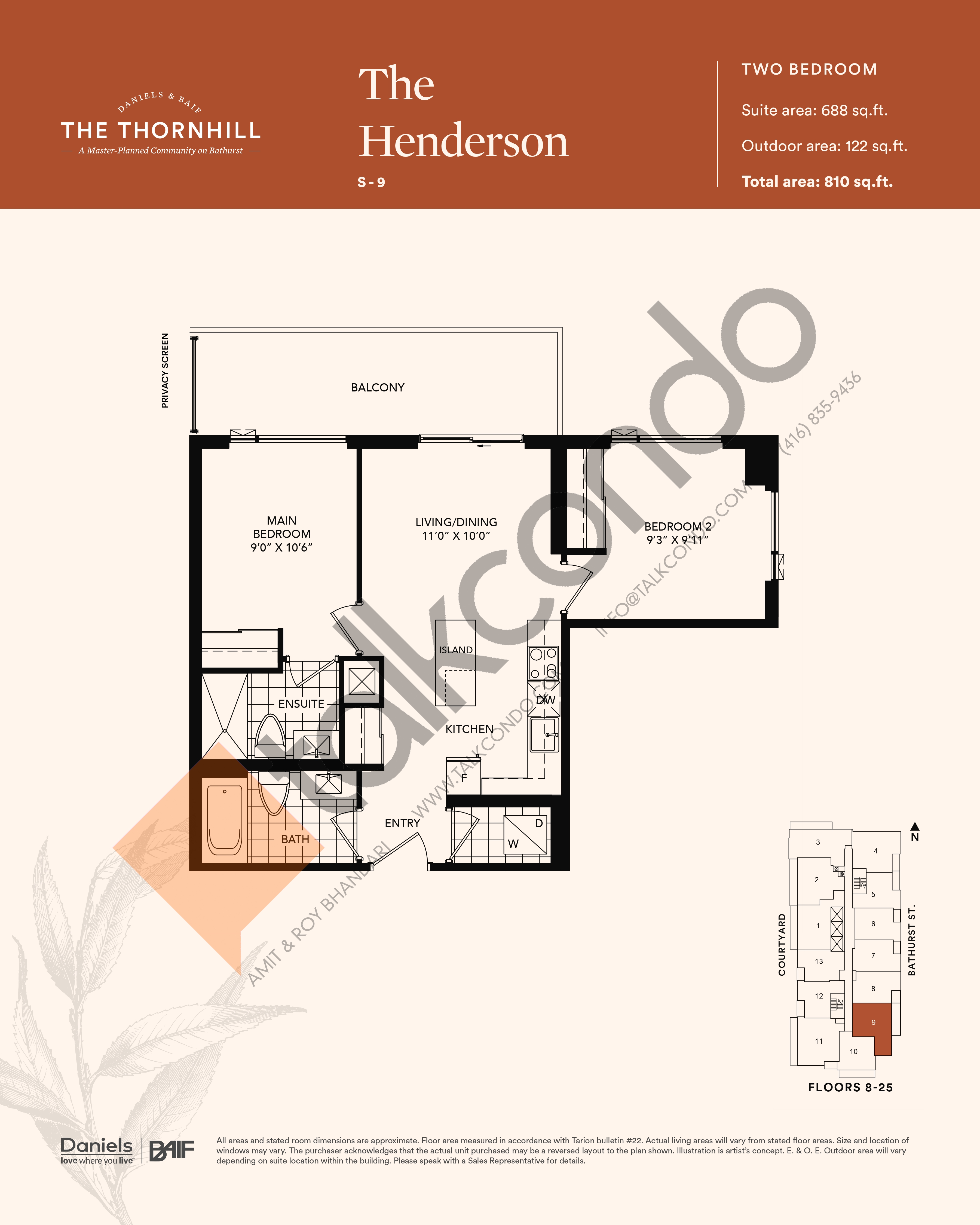 The Henderson Floor Plan at The Thornhill Condos - 688 sq.ft