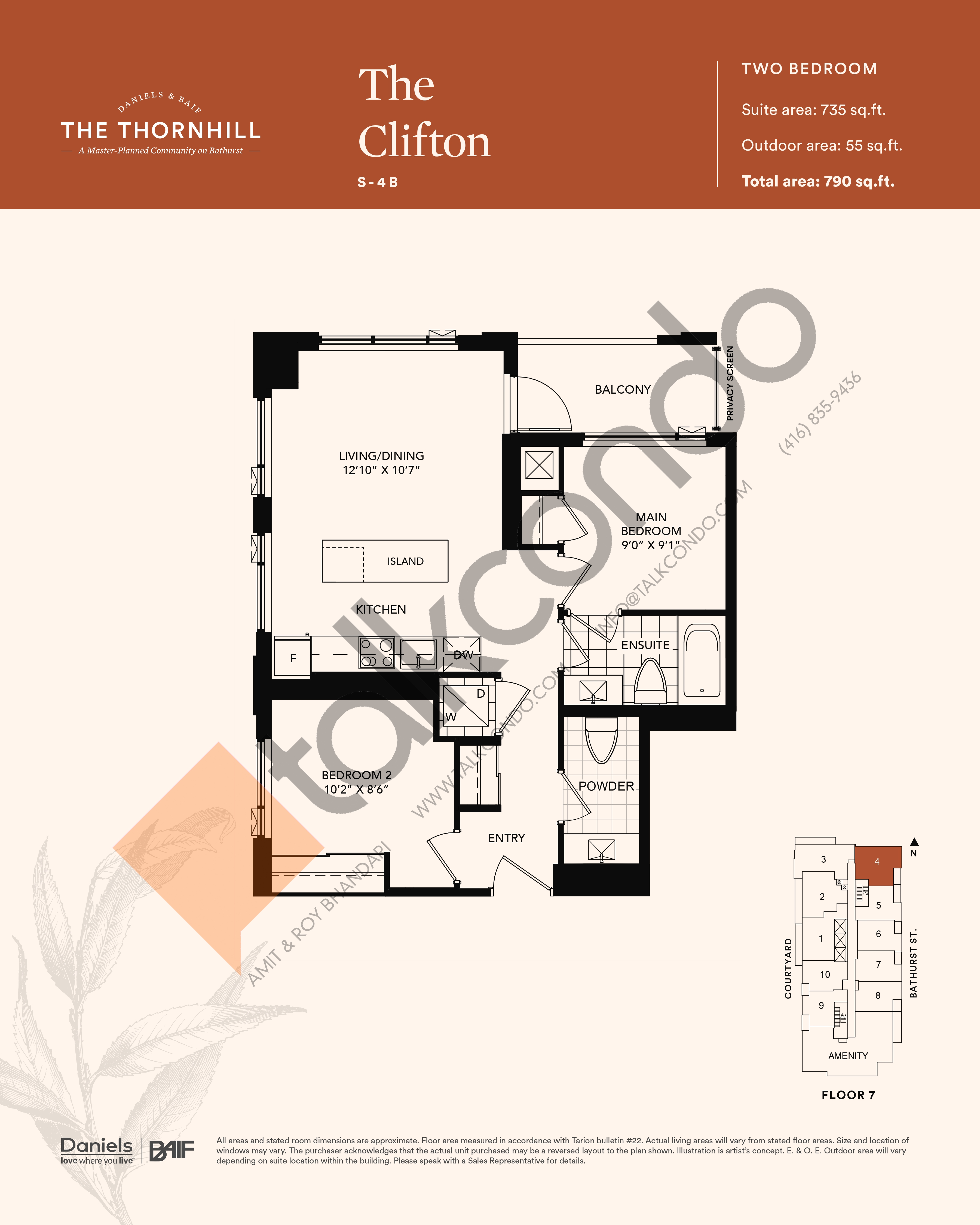 The Clifton Floor Plan at The Thornhill Condos - 735 sq.ft