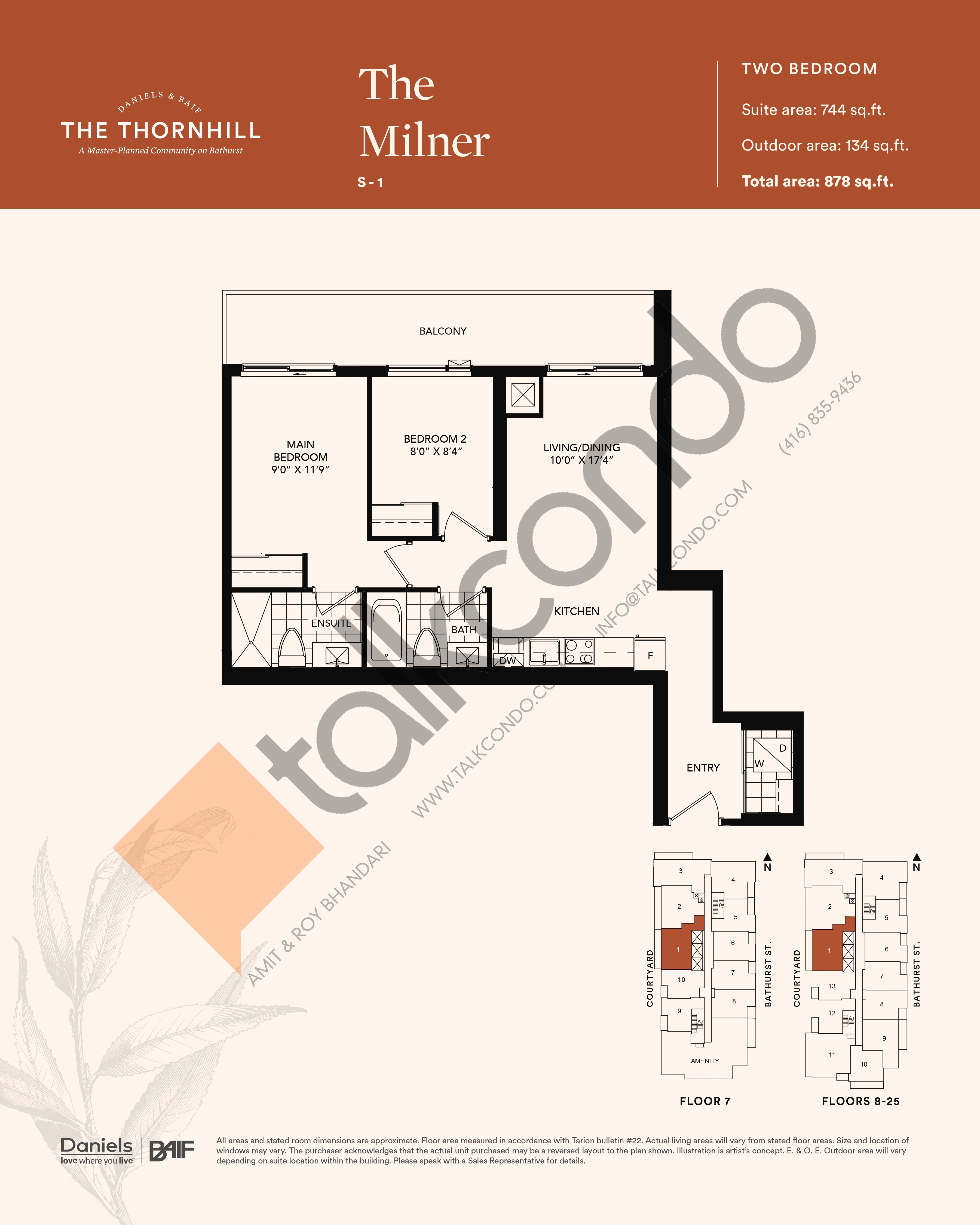 The Milner Floor Plan at The Thornhill Condos - 744 sq.ft