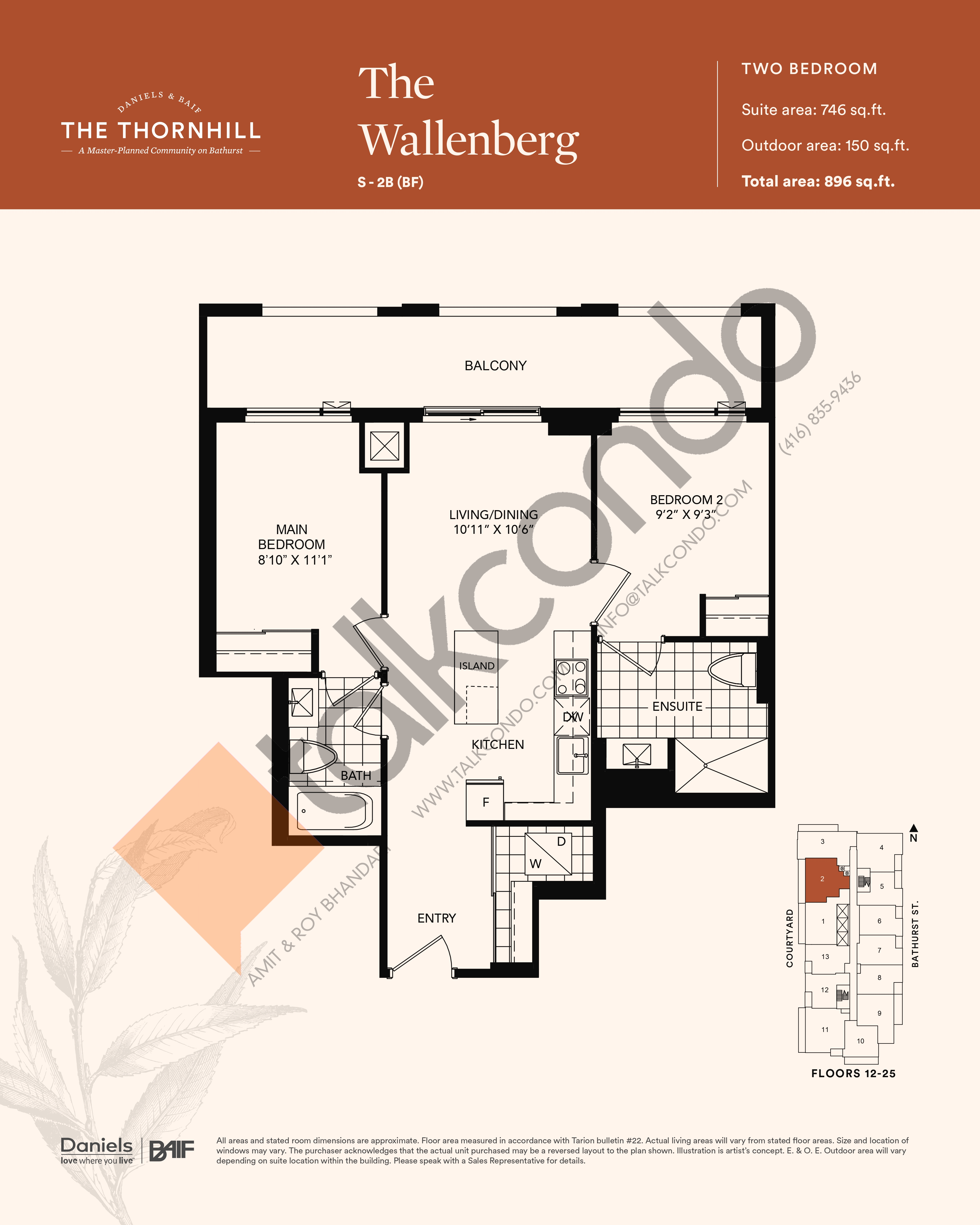 The Wallenberg Floor Plan at The Thornhill Condos - 746 sq.ft