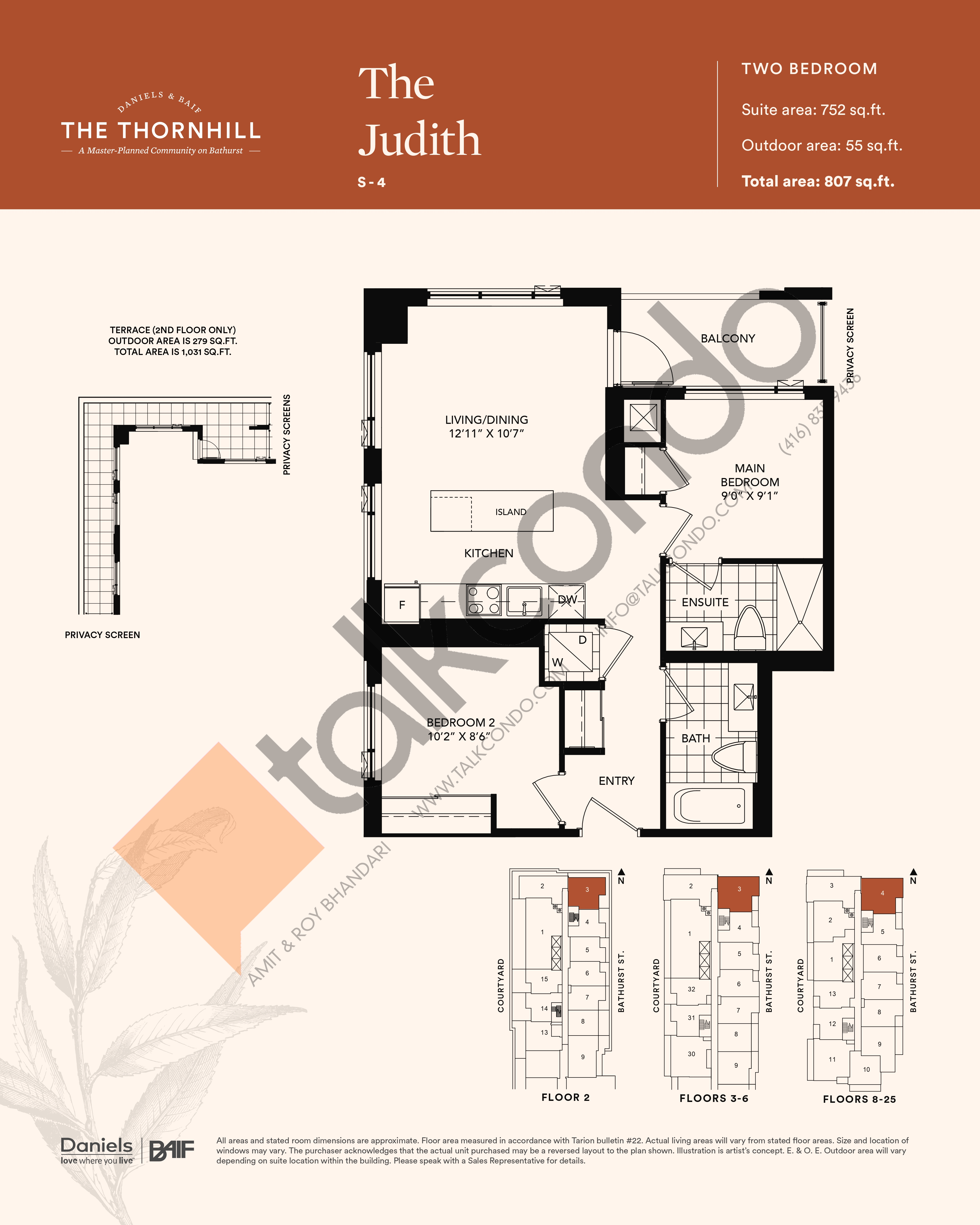 The Judith Floor Plan at The Thornhill Condos - 752 sq.ft