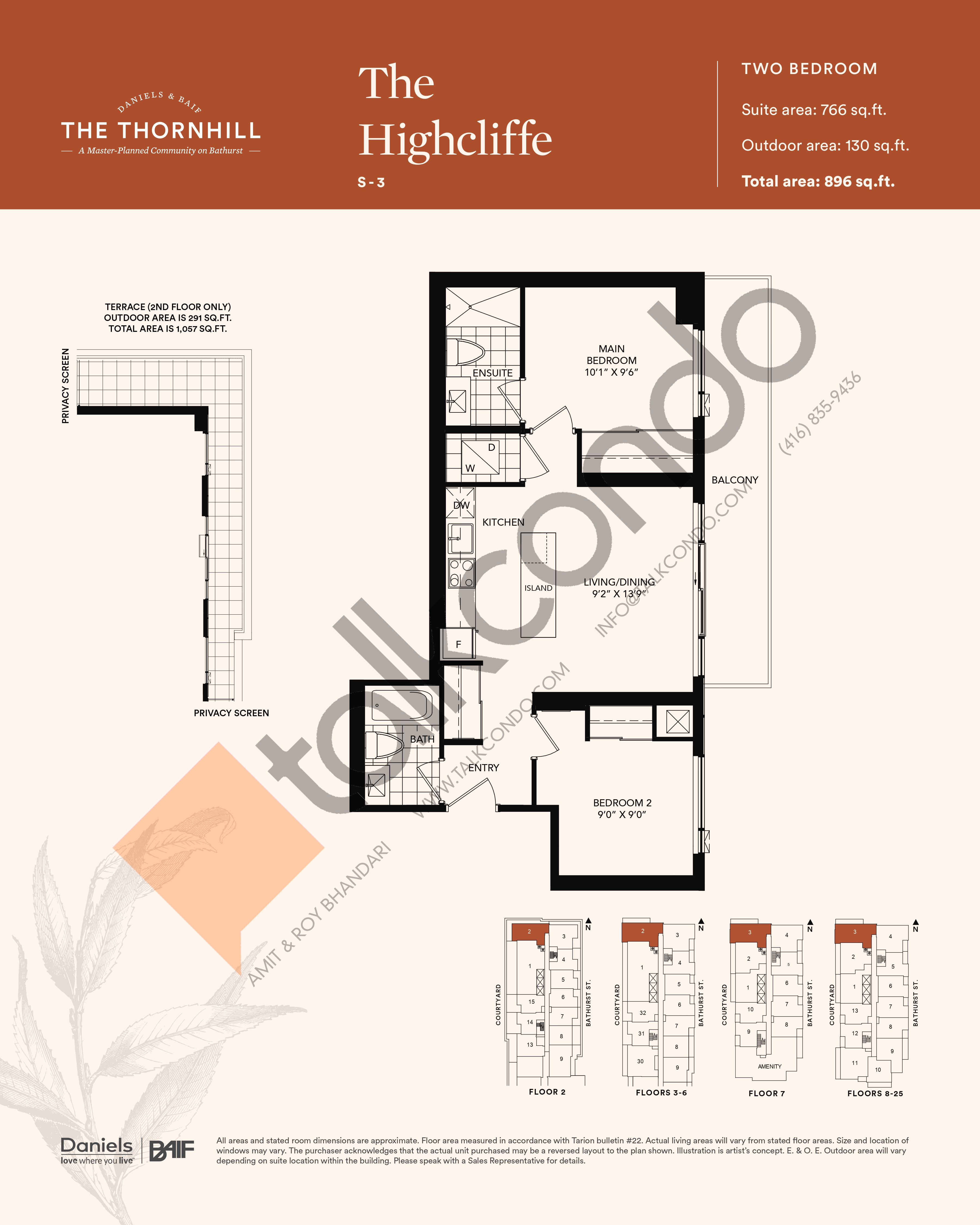 The Highcliffe Floor Plan at The Thornhill Condos - 766 sq.ft