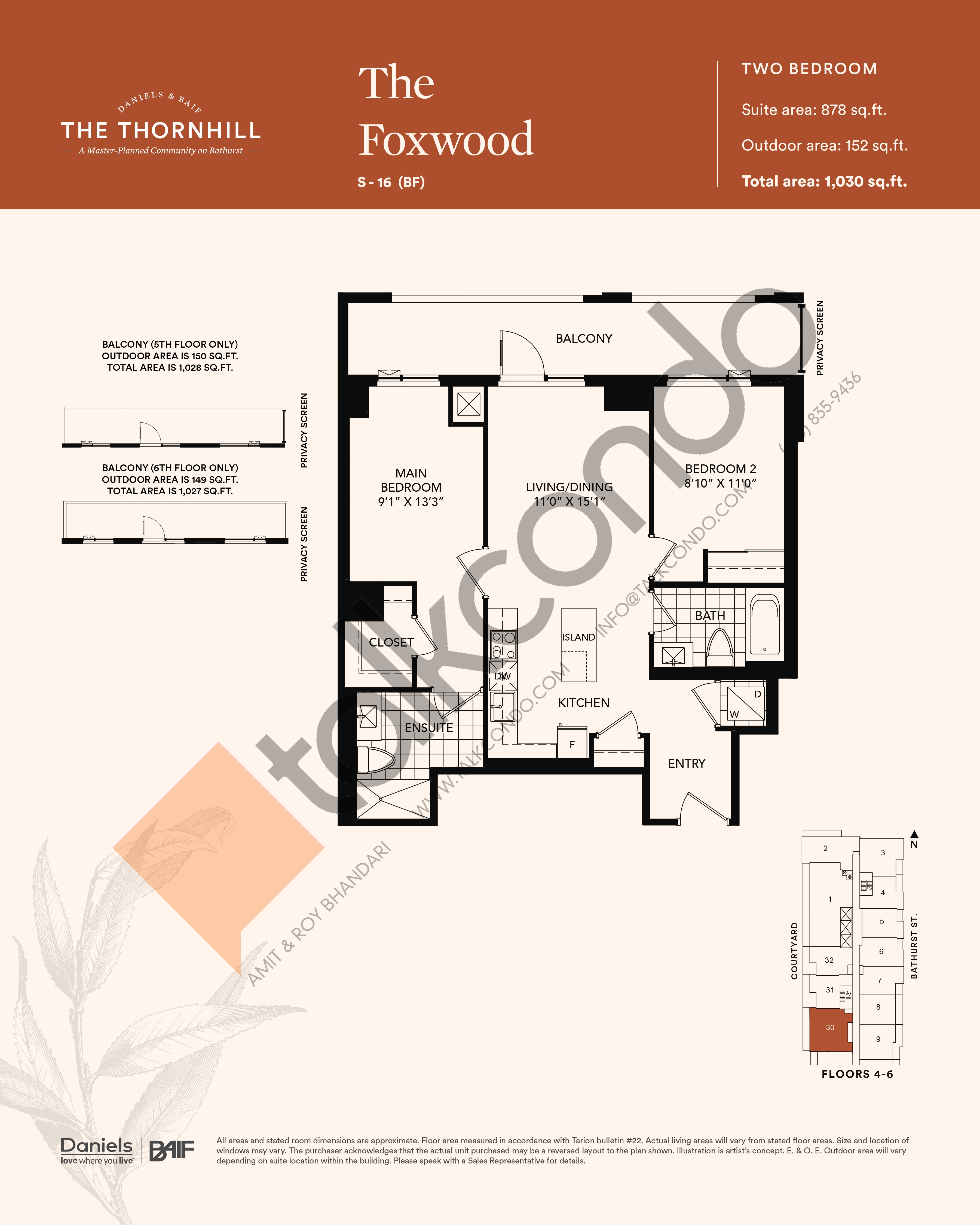 The Foxwood Floor Plan at The Thornhill Condos - 878 sq.ft