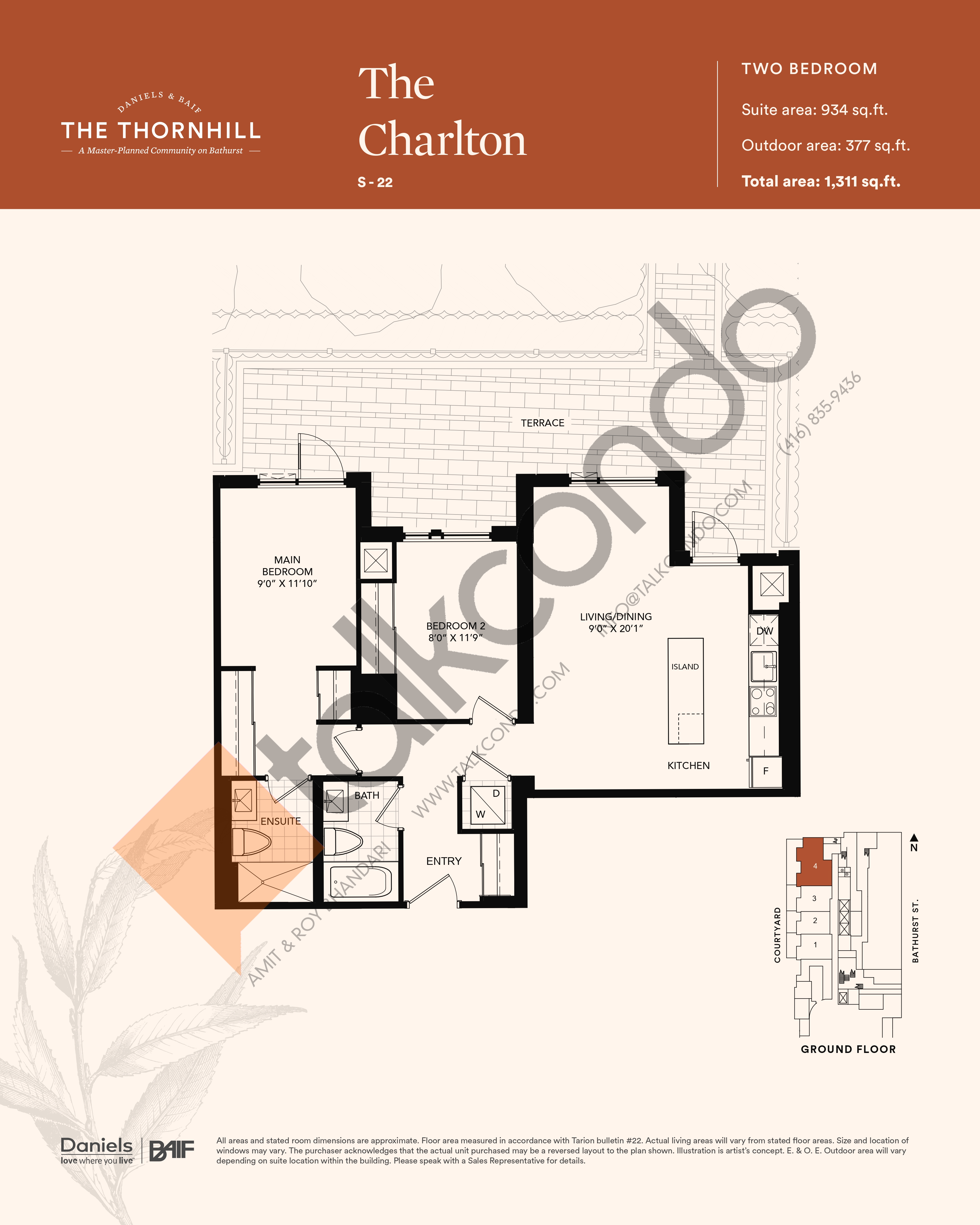 The Charlton Floor Plan at The Thornhill Condos - 934 sq.ft