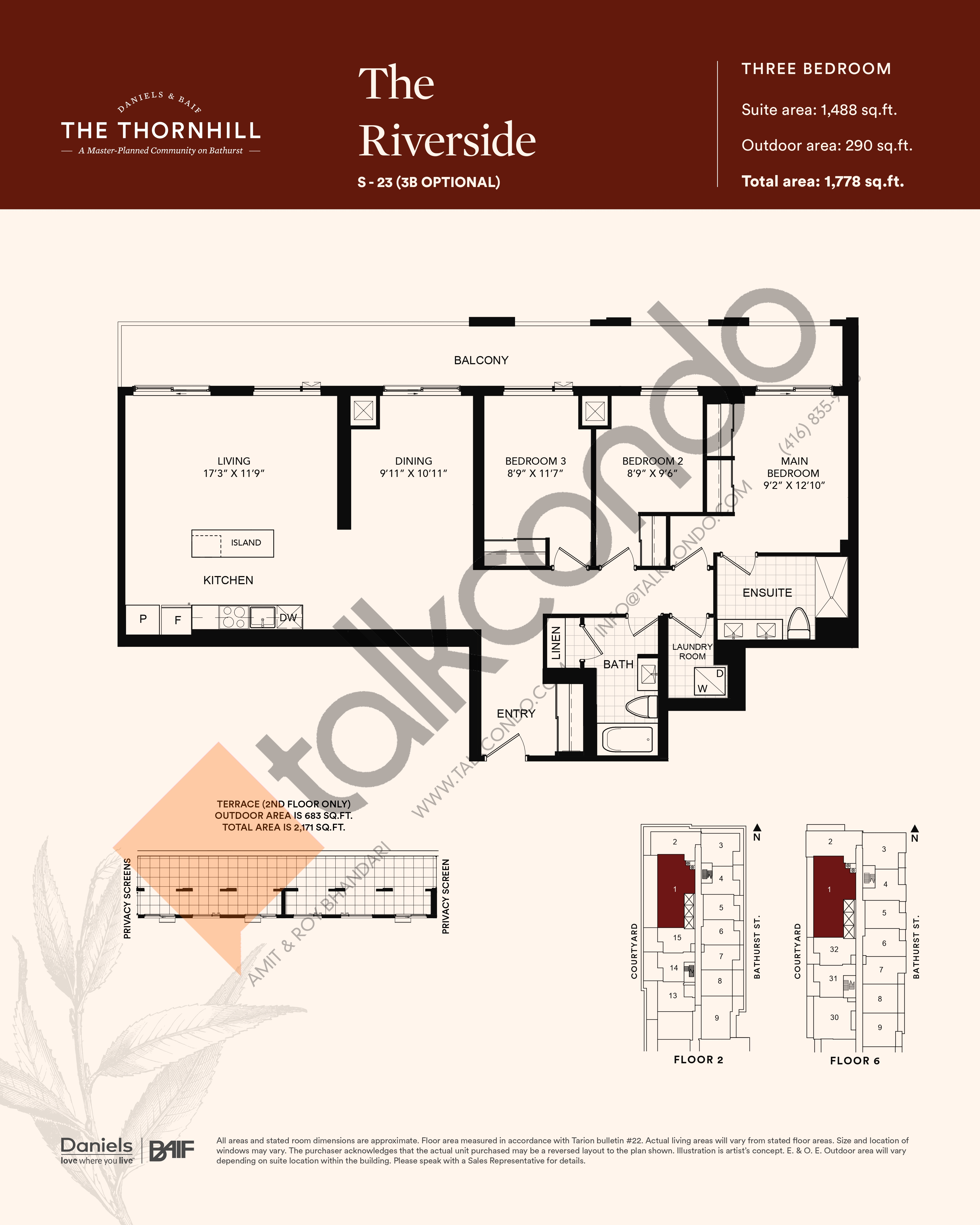 The Riverside Floor Plan at The Thornhill Condos - 1488 sq.ft