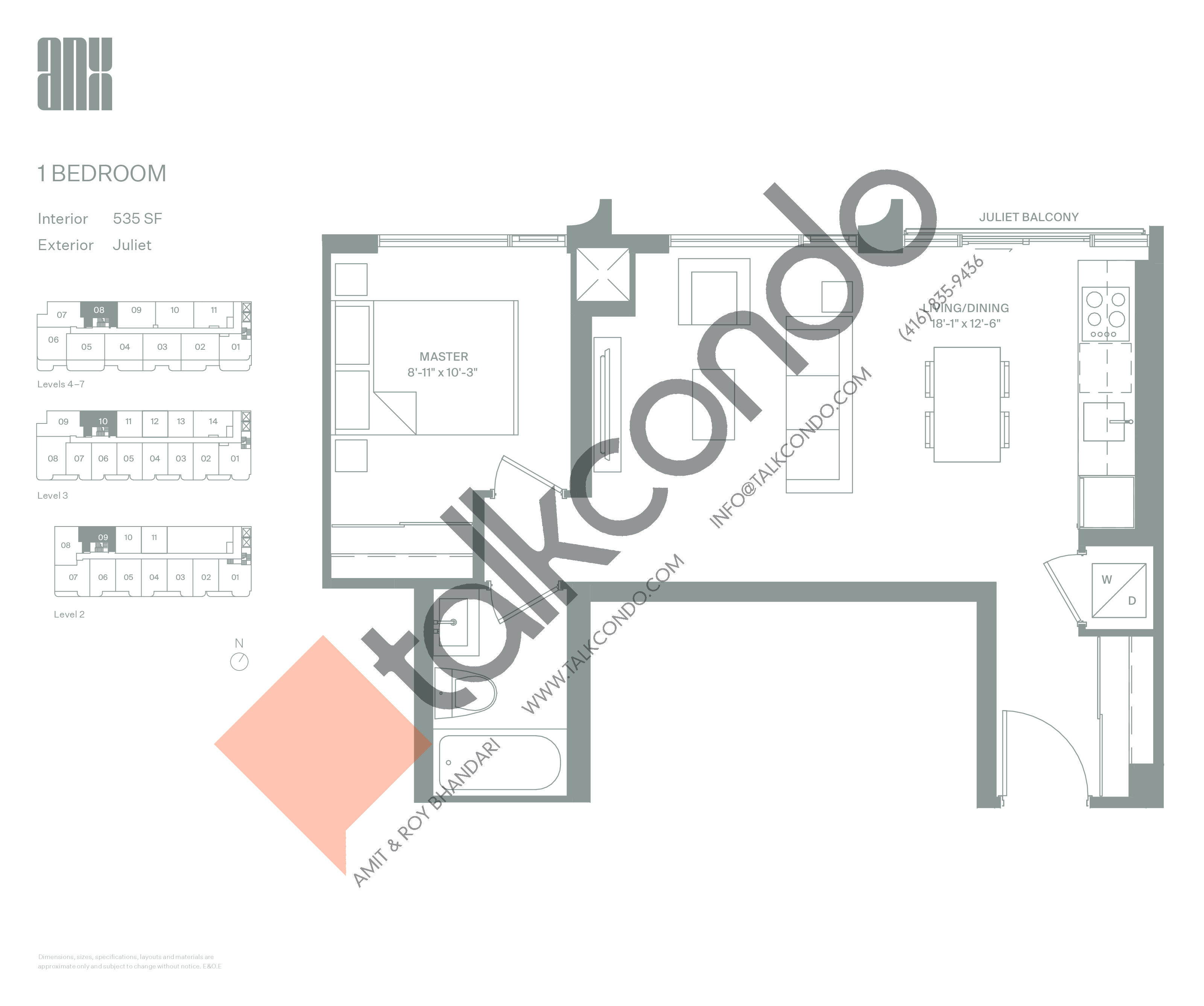 Suite 535 Floor Plan at ANX Condos - 535 sq.ft