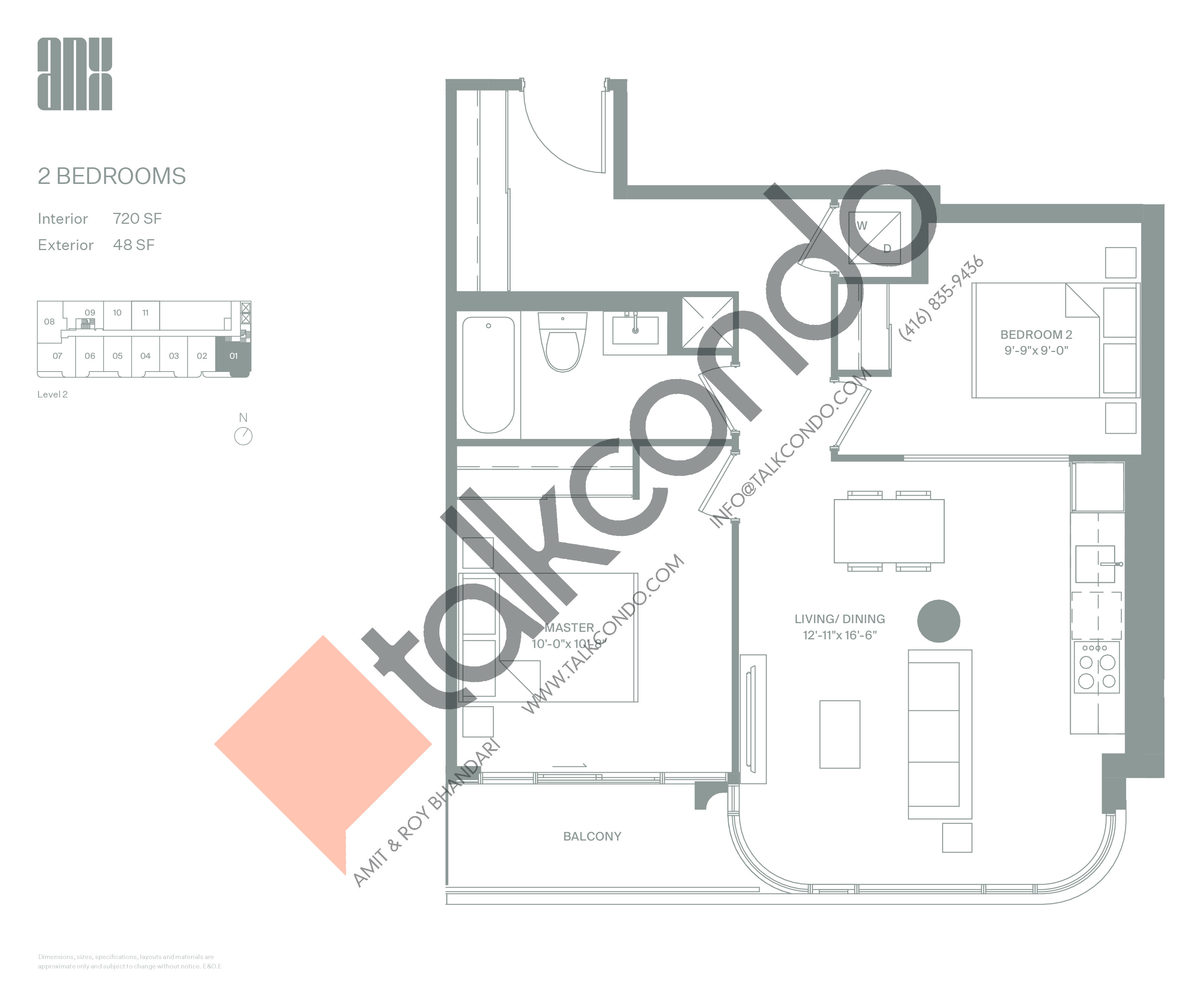 Suite 720 Floor Plan at ANX Condos - 720 sq.ft