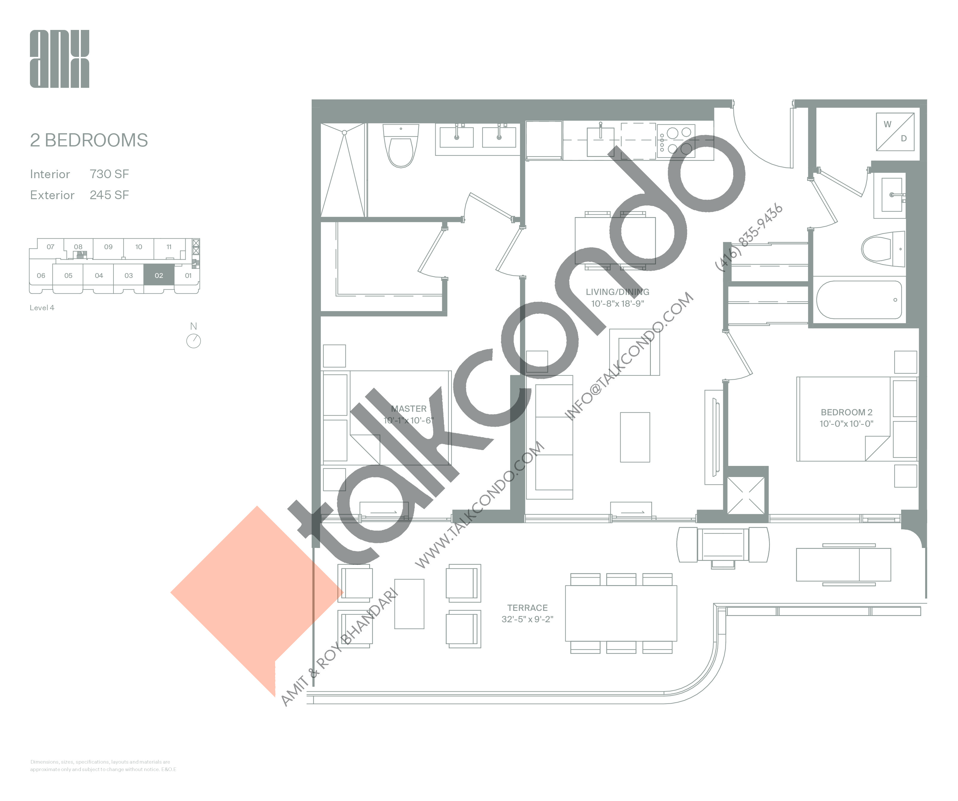 Suite 730 with Terrace Option A Floor Plan at ANX Condos - 730 sq.ft