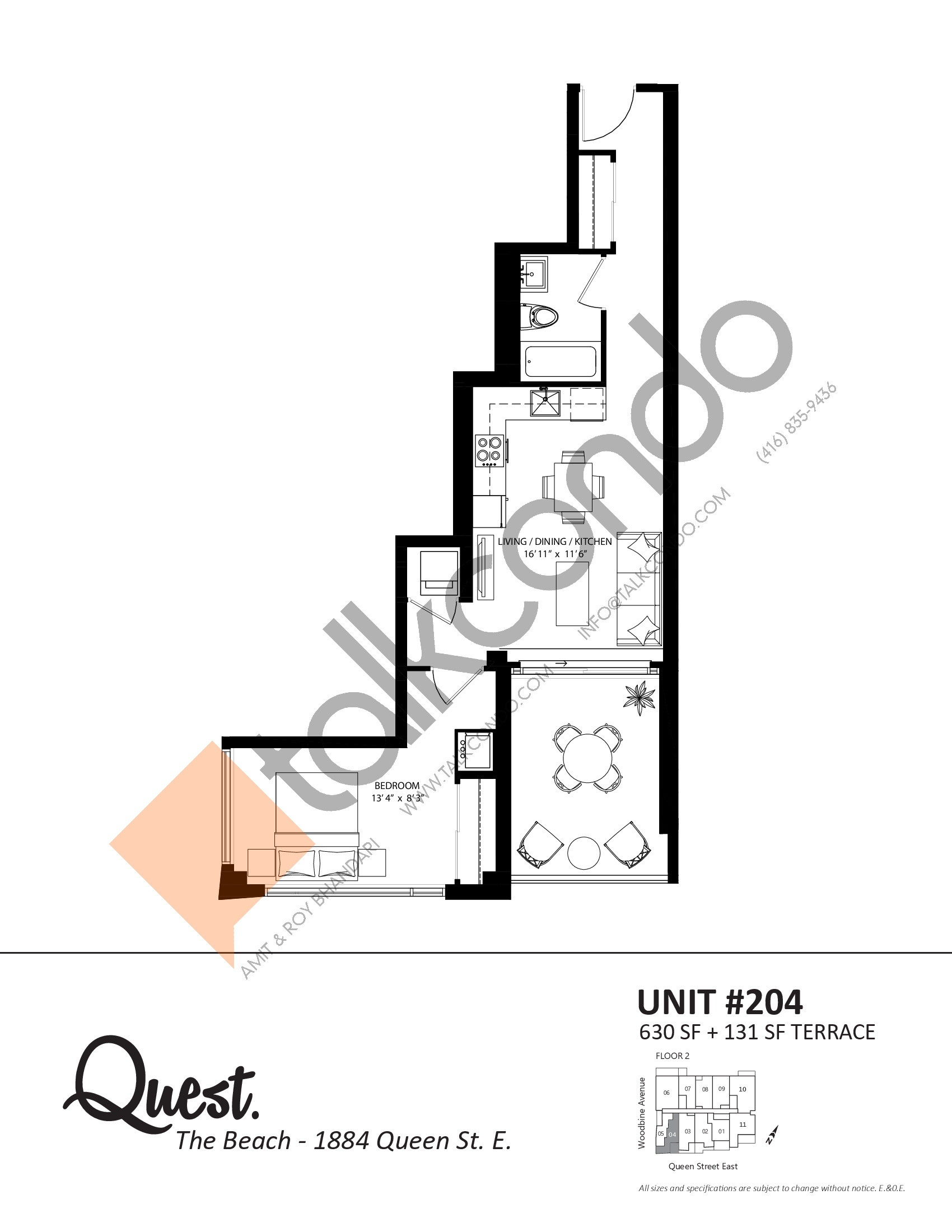Unit 204 Floor Plan at Heartwood the Beach Condos - 630 sq.ft