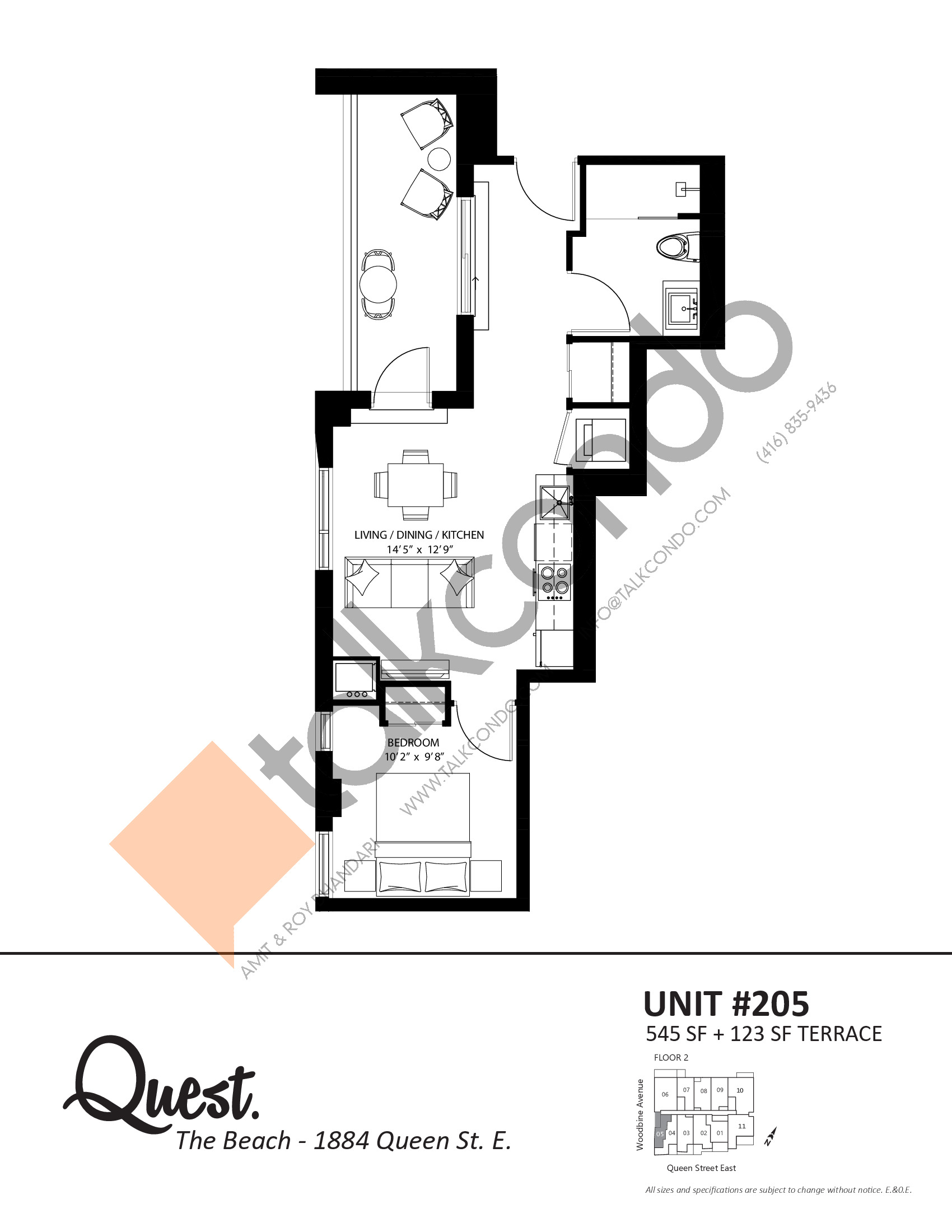 Unit  205 Floor Plan at Heartwood the Beach Condos - 545 sq.ft