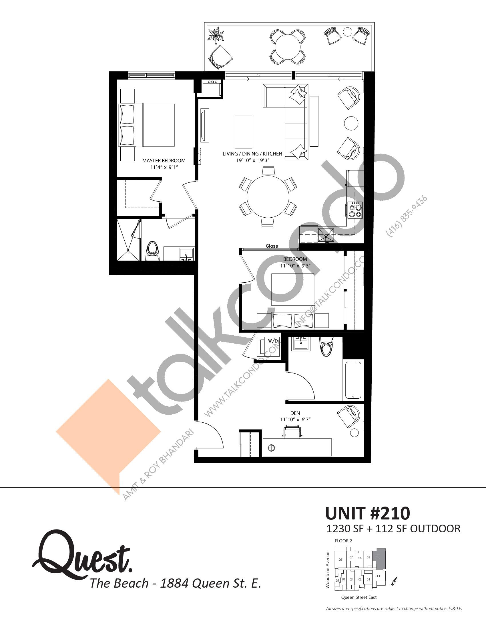 Unit 210 Floor Plan at Heartwood the Beach Condos - 1230 sq.ft