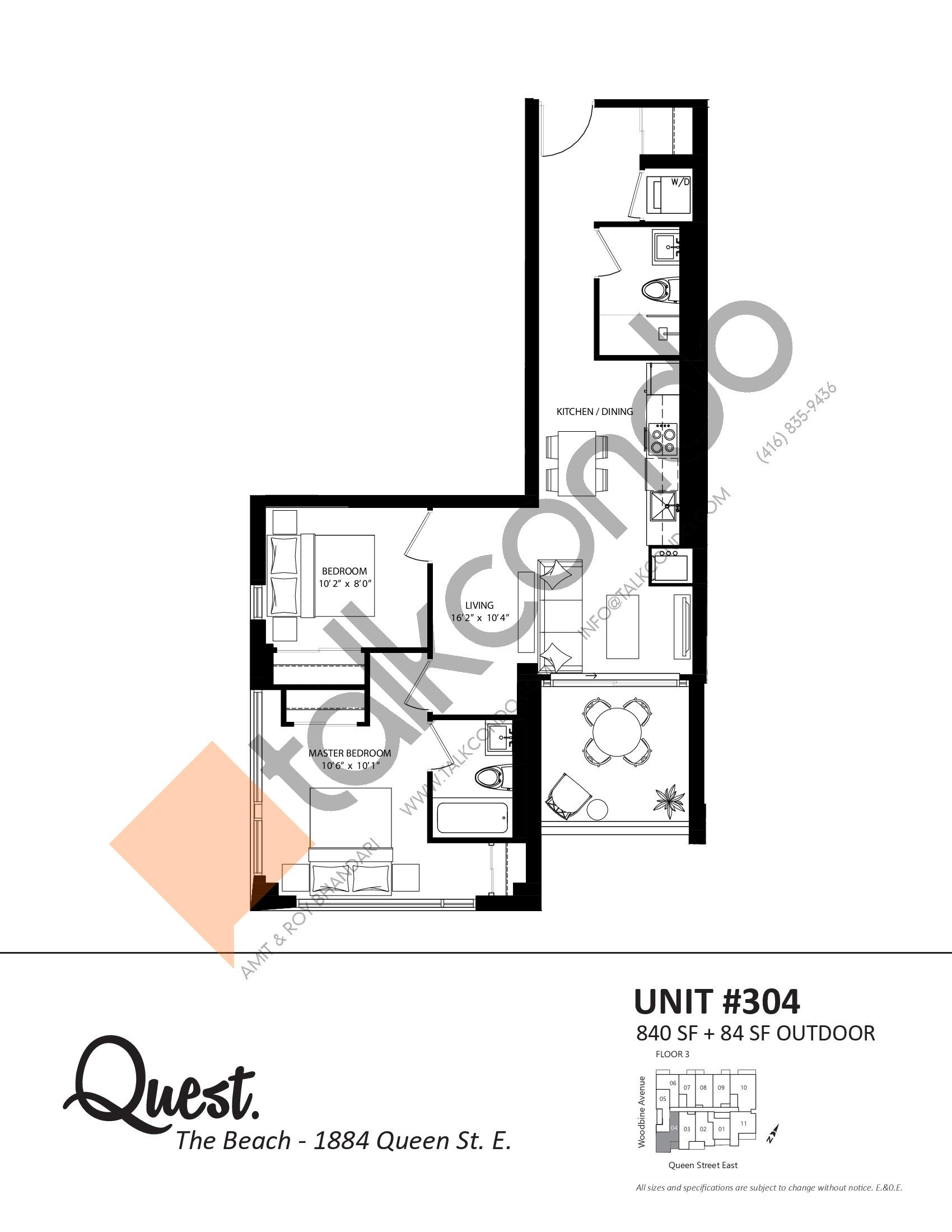 Unit 304 Floor Plan at Heartwood the Beach Condos - 840 sq.ft