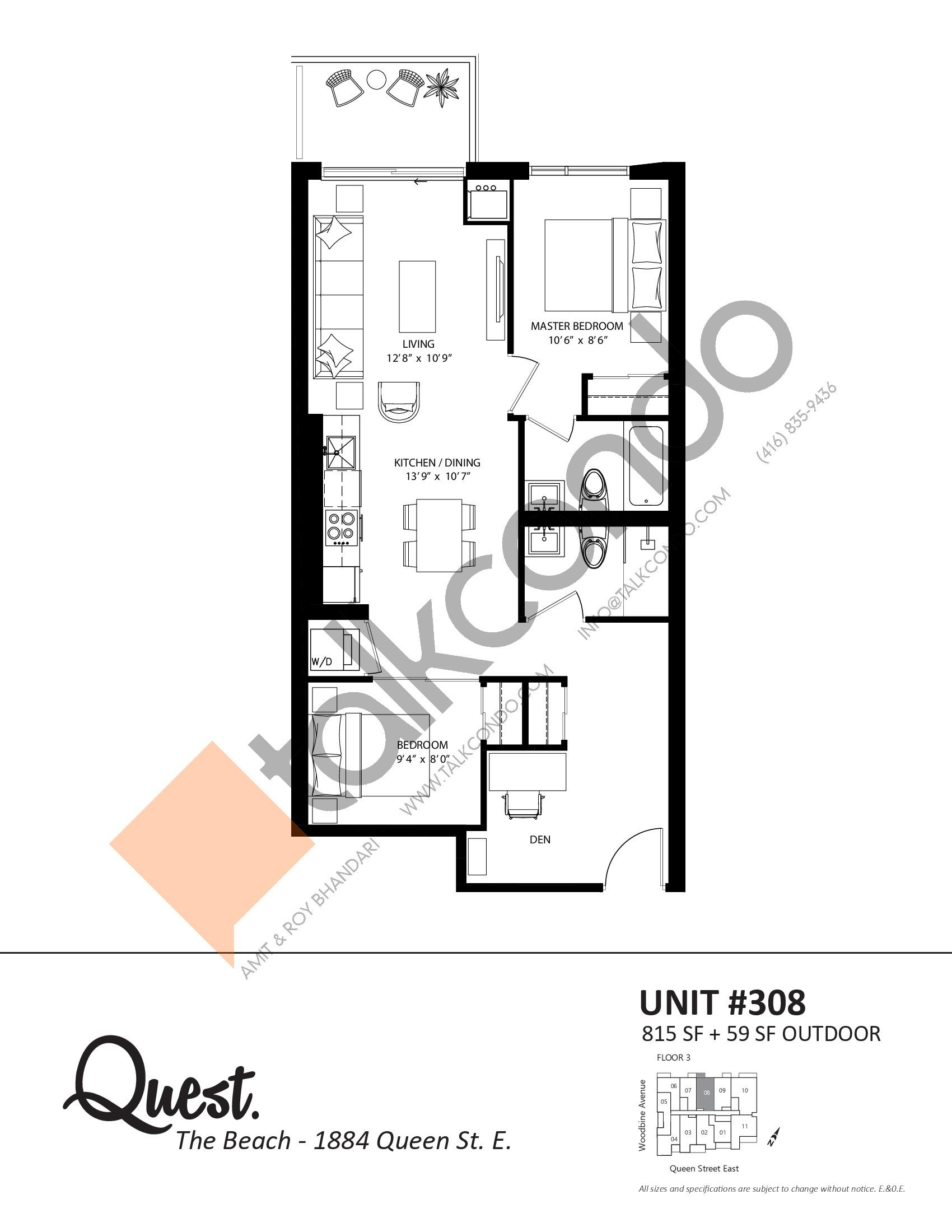 Unit 308 Floor Plan at Heartwood the Beach Condos - 815 sq.ft