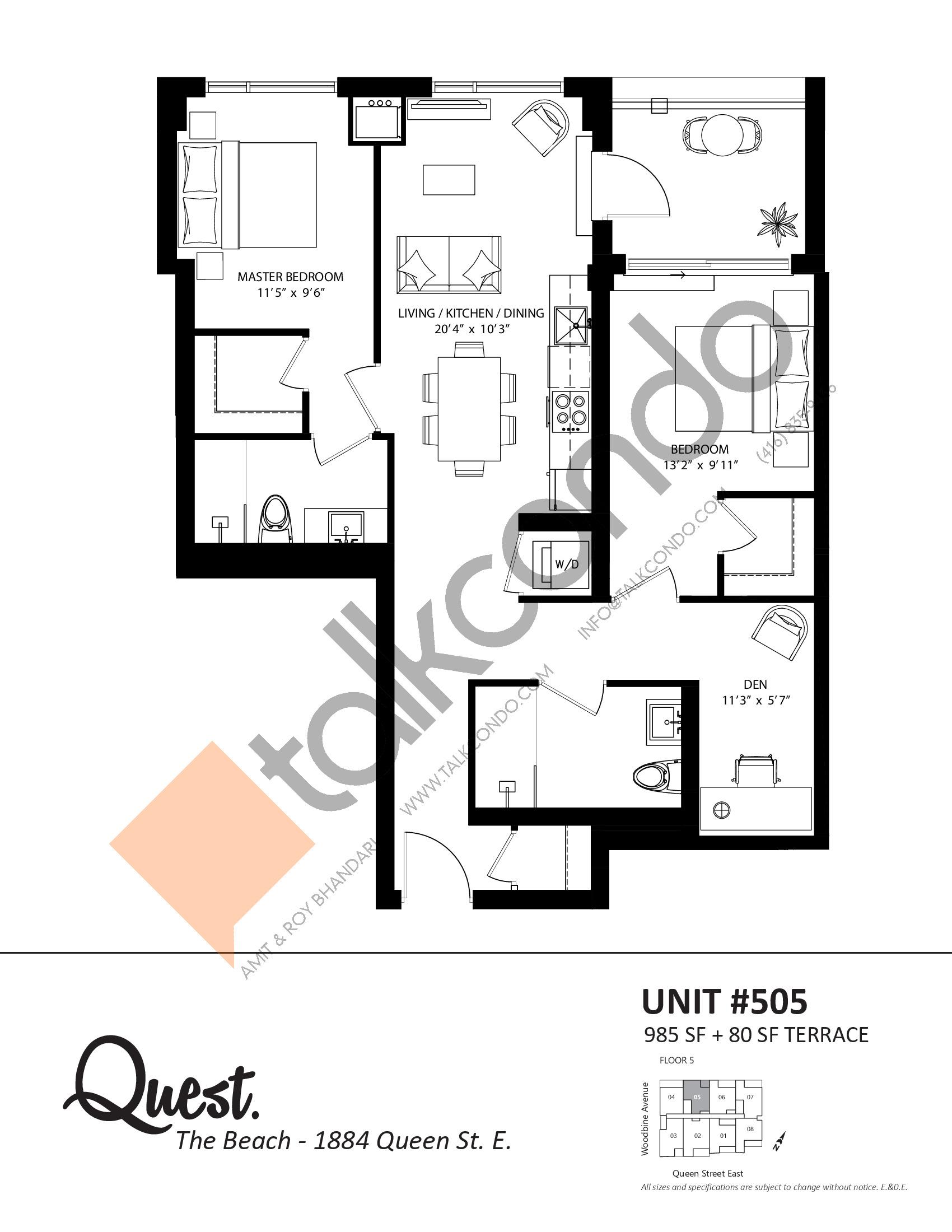 Unit 505 Floor Plan at Heartwood the Beach Condos - 985 sq.ft