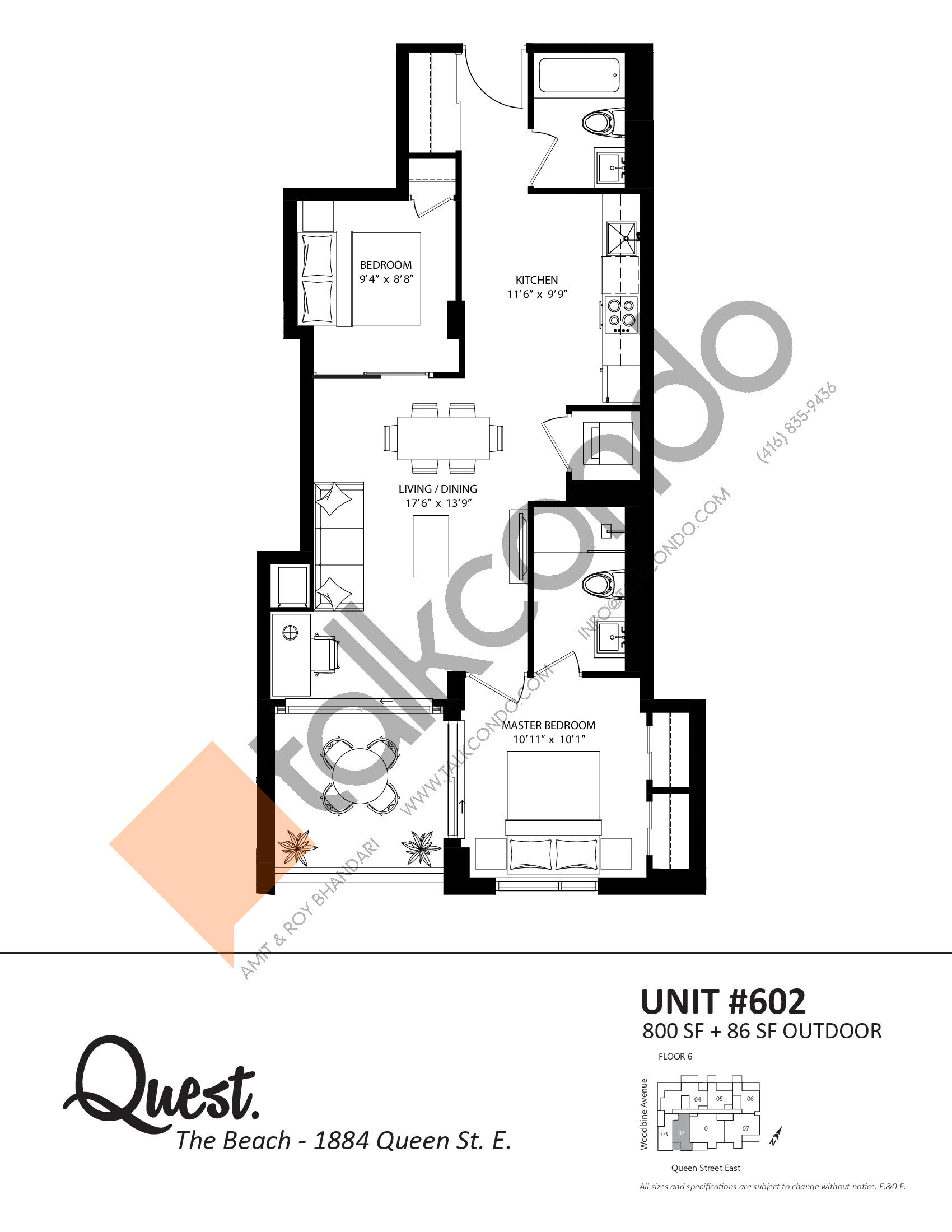 Unit 602 Floor Plan at Heartwood the Beach Condos - 800 sq.ft