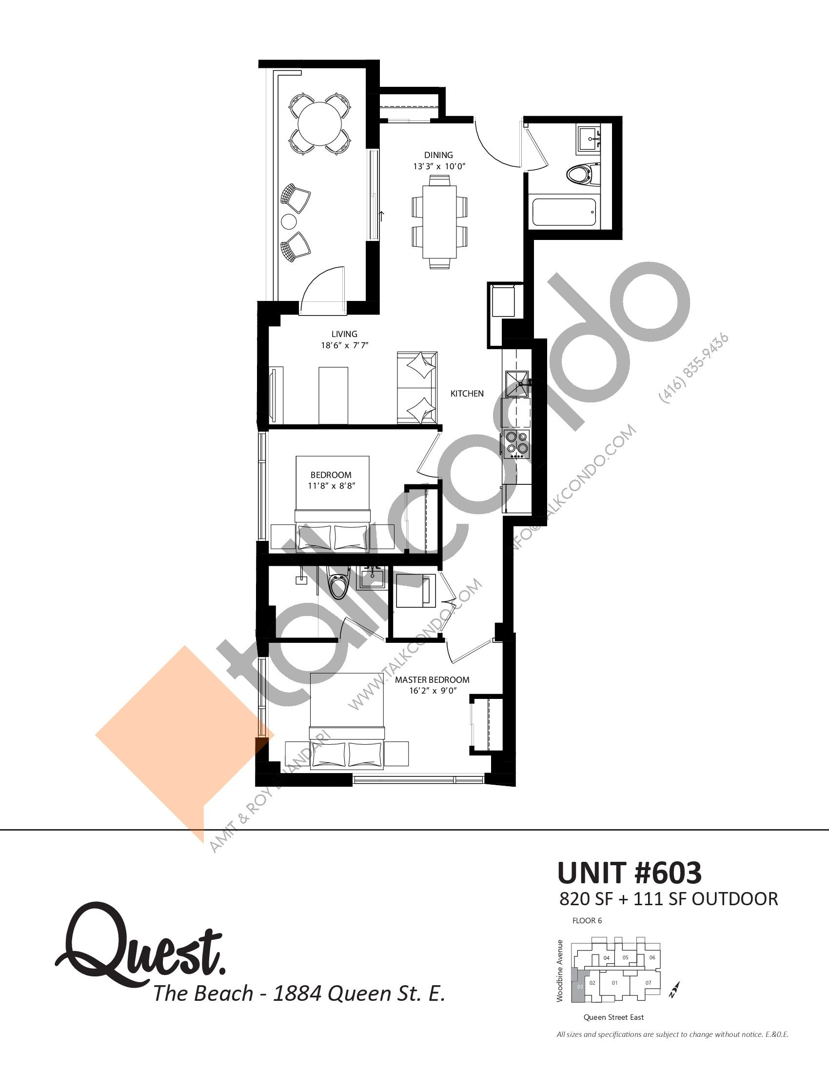 Unit 603 Floor Plan at Heartwood the Beach Condos - 820 sq.ft