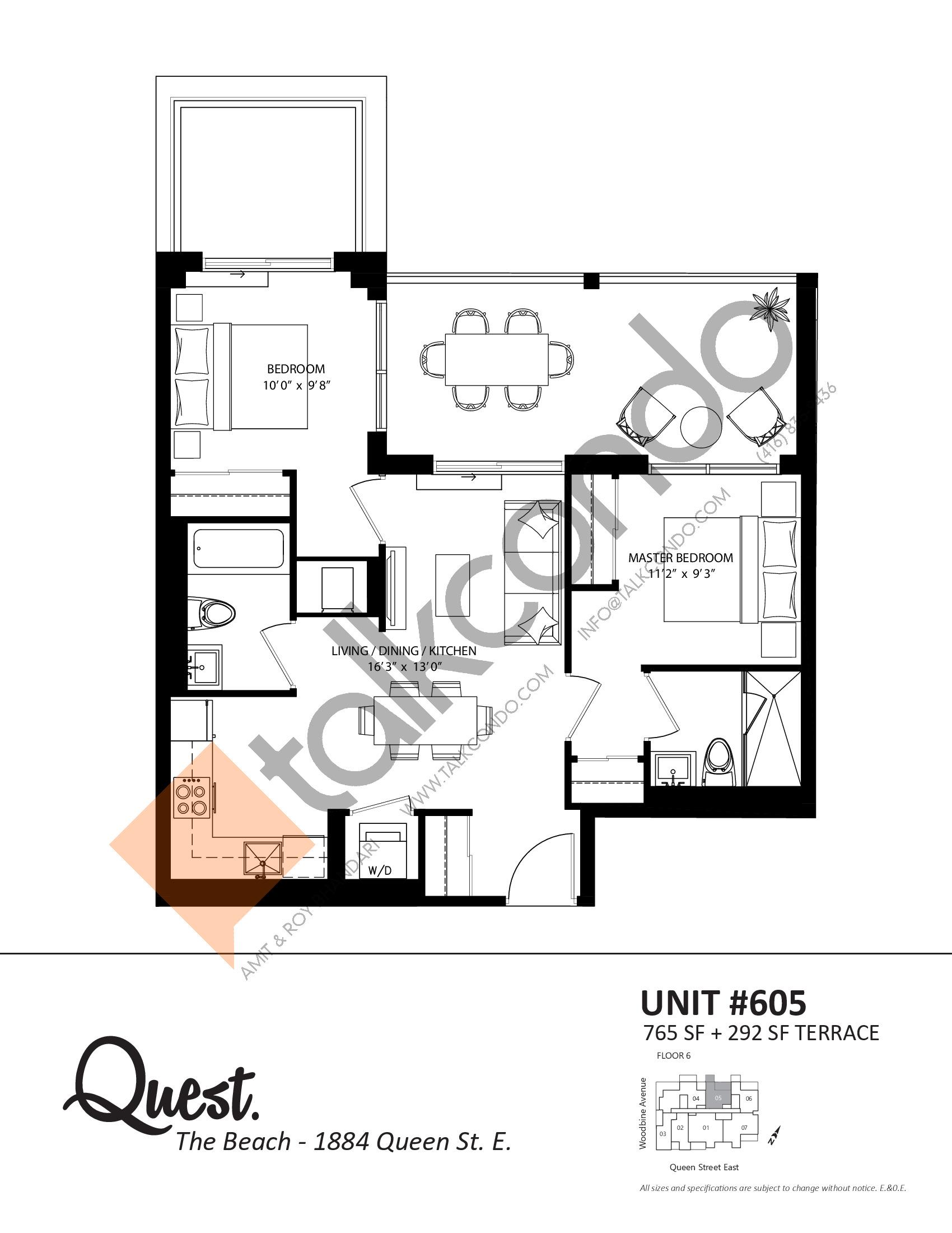 Unit 605 Floor Plan at Heartwood the Beach Condos - 765 sq.ft