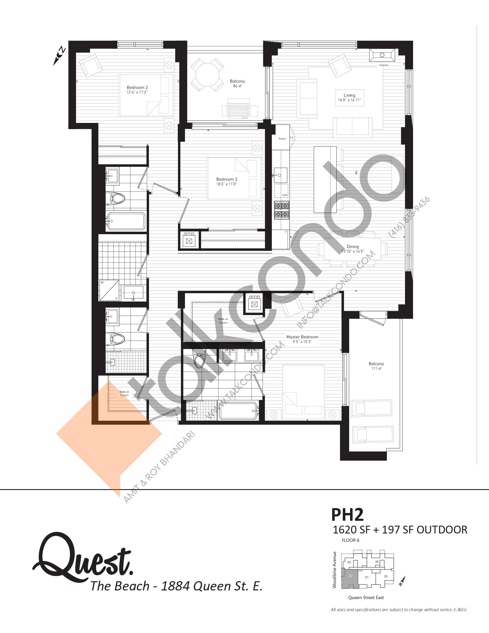 PH2 Floor Plan at Heartwood the Beach Condos - 1620 sq.ft